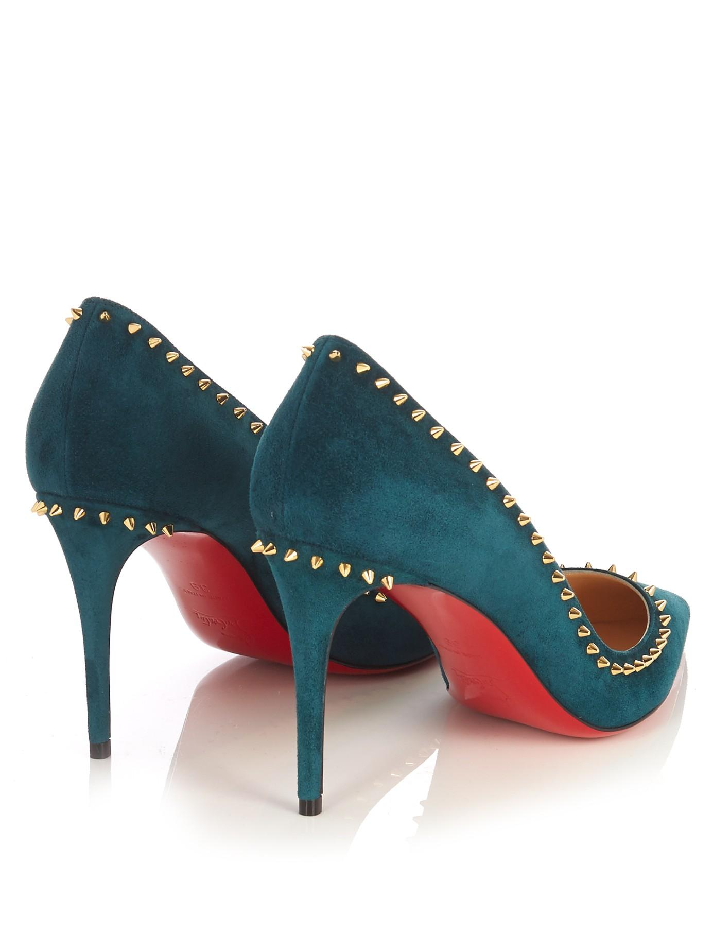 lyst christian louboutin anjalina 85mm suede pumps in green rh lyst com  christian louboutin shoes 85mm