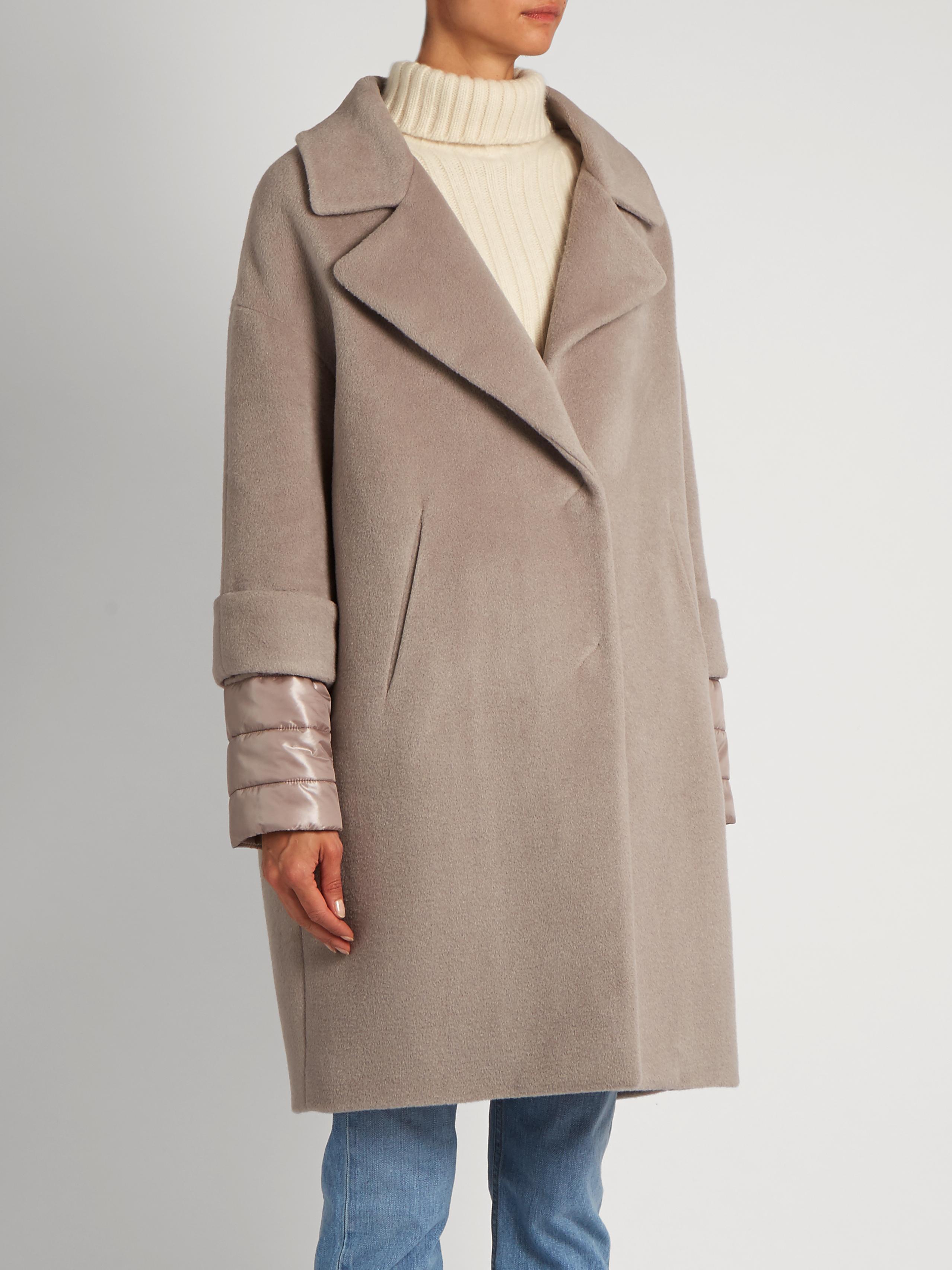 Lyst Herno Soft Brush Showerproof Wool Blend Coat In Blue