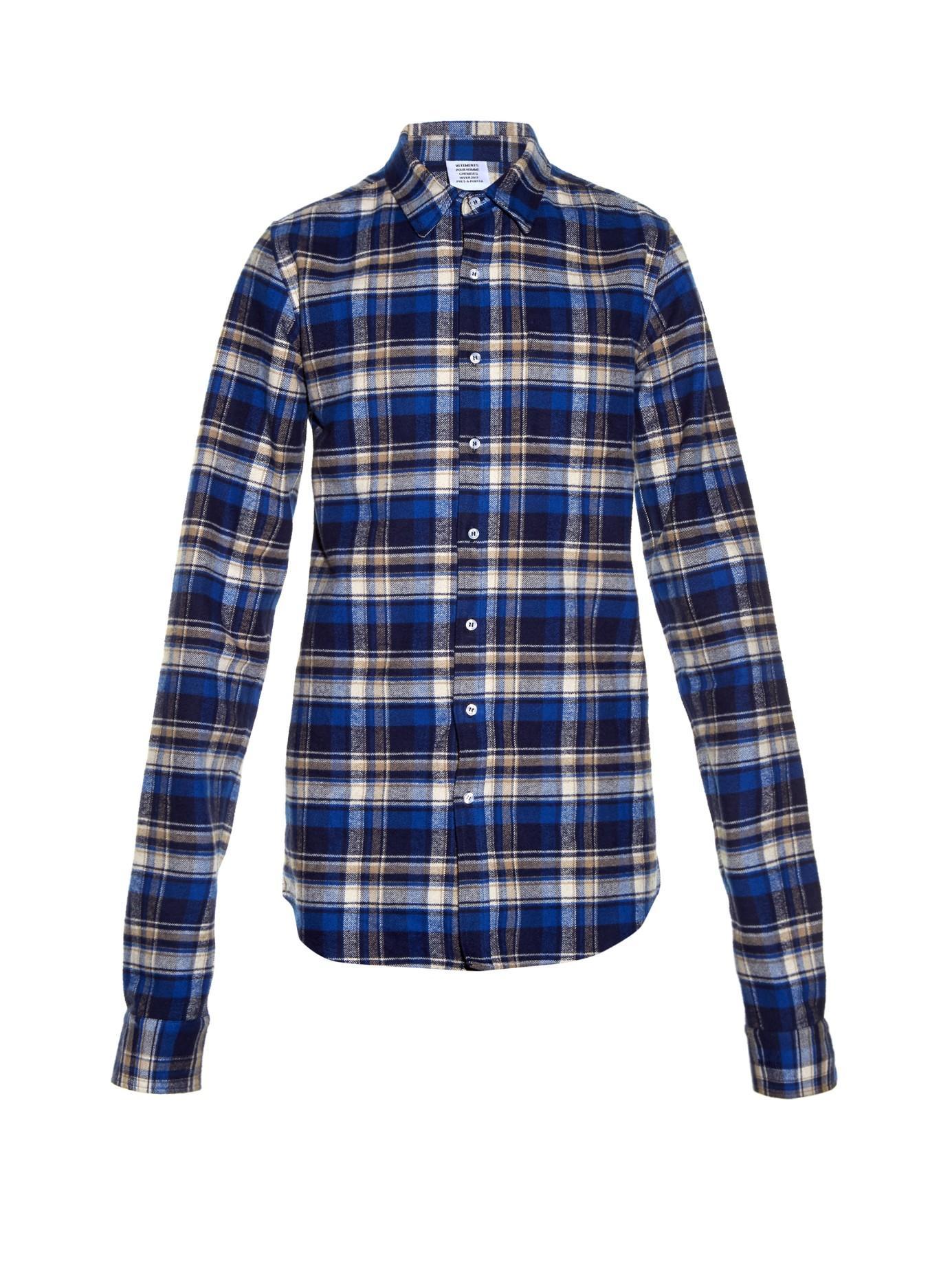 Vetements Plaid Flannel Shirt In Blue For Men Lyst