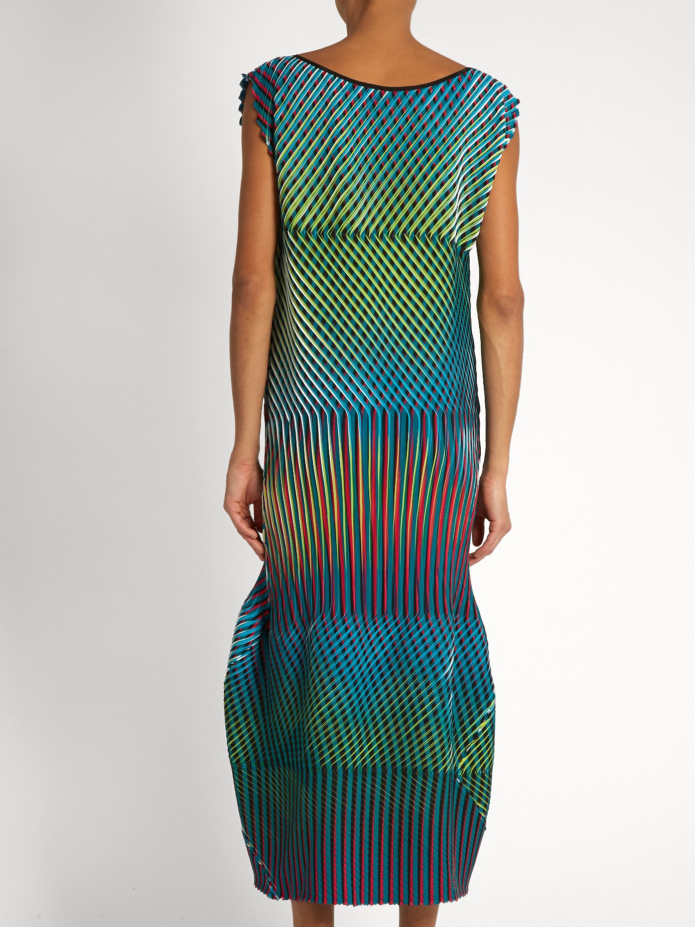 Clothing By Baking It In An Oven By Issey Miyake: Issey Miyake Prism 2 Striped And Pleated Midi Dress