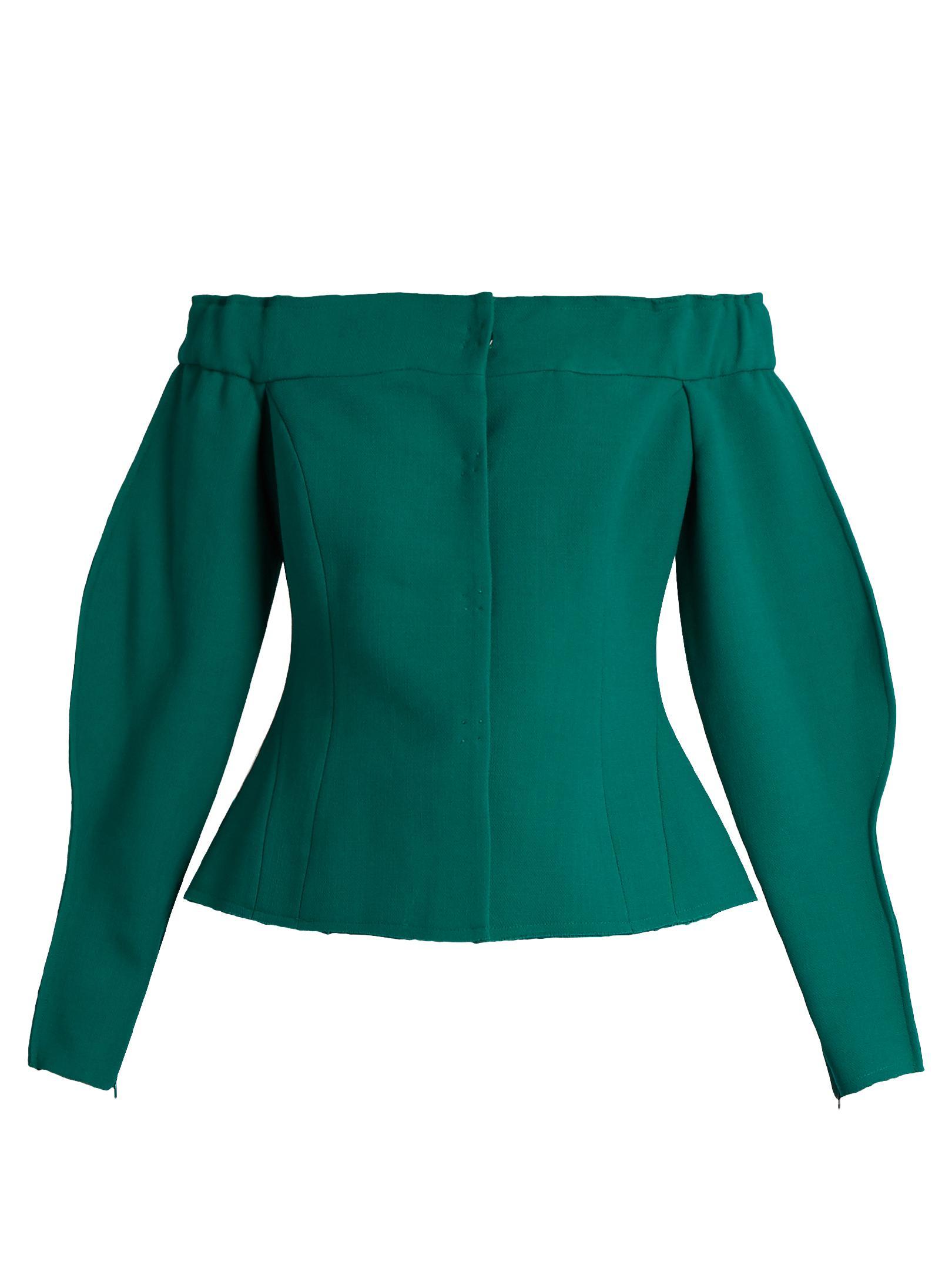 Natasha Zinko Off-shoulders Long Blouse in Green