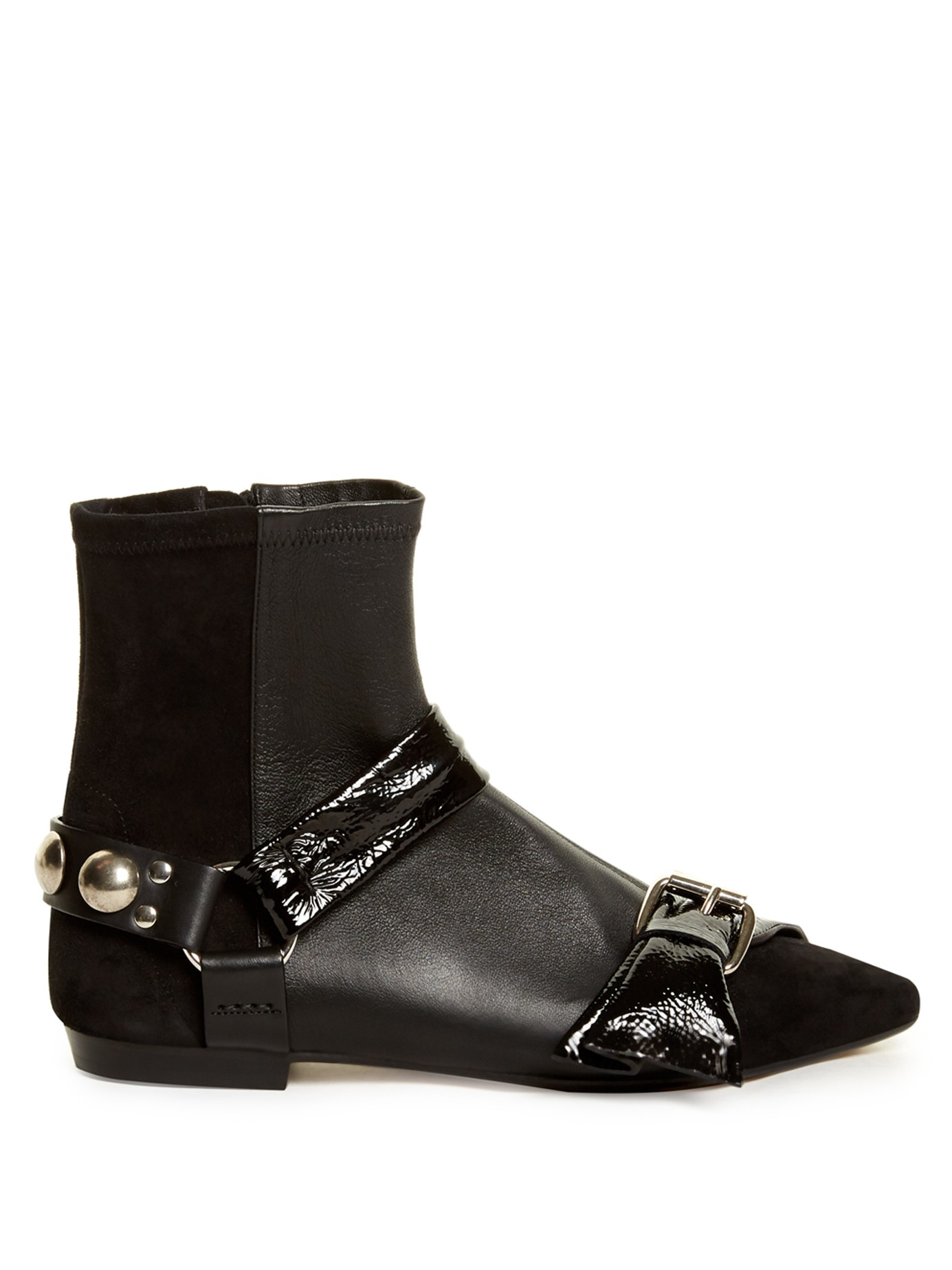 marant reida leather and suede ankle boots in black