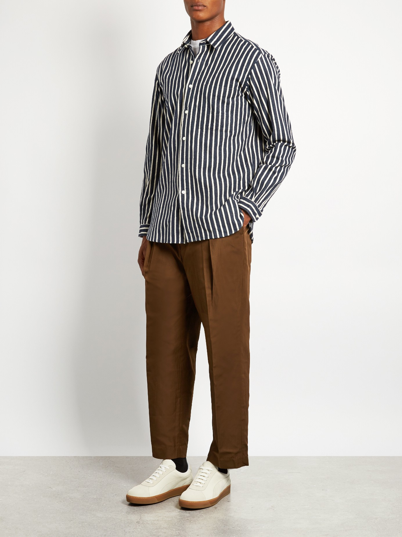 Lyst tomorrowland long sleeved striped cotton flannel for Athletic cut flannel shirts