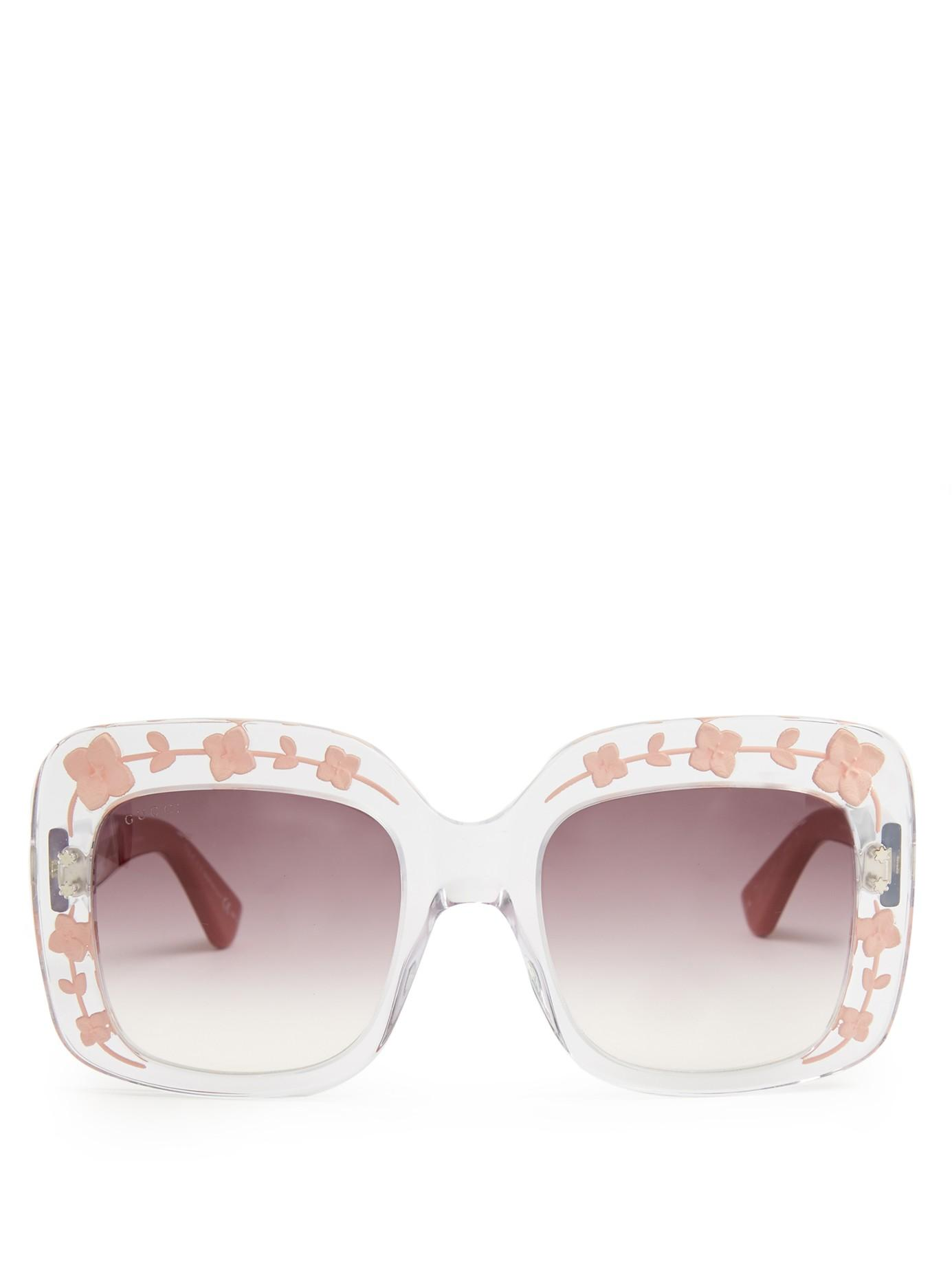Lyst - Gucci Oversized Square-frame Acetate Sunglasses in Pink