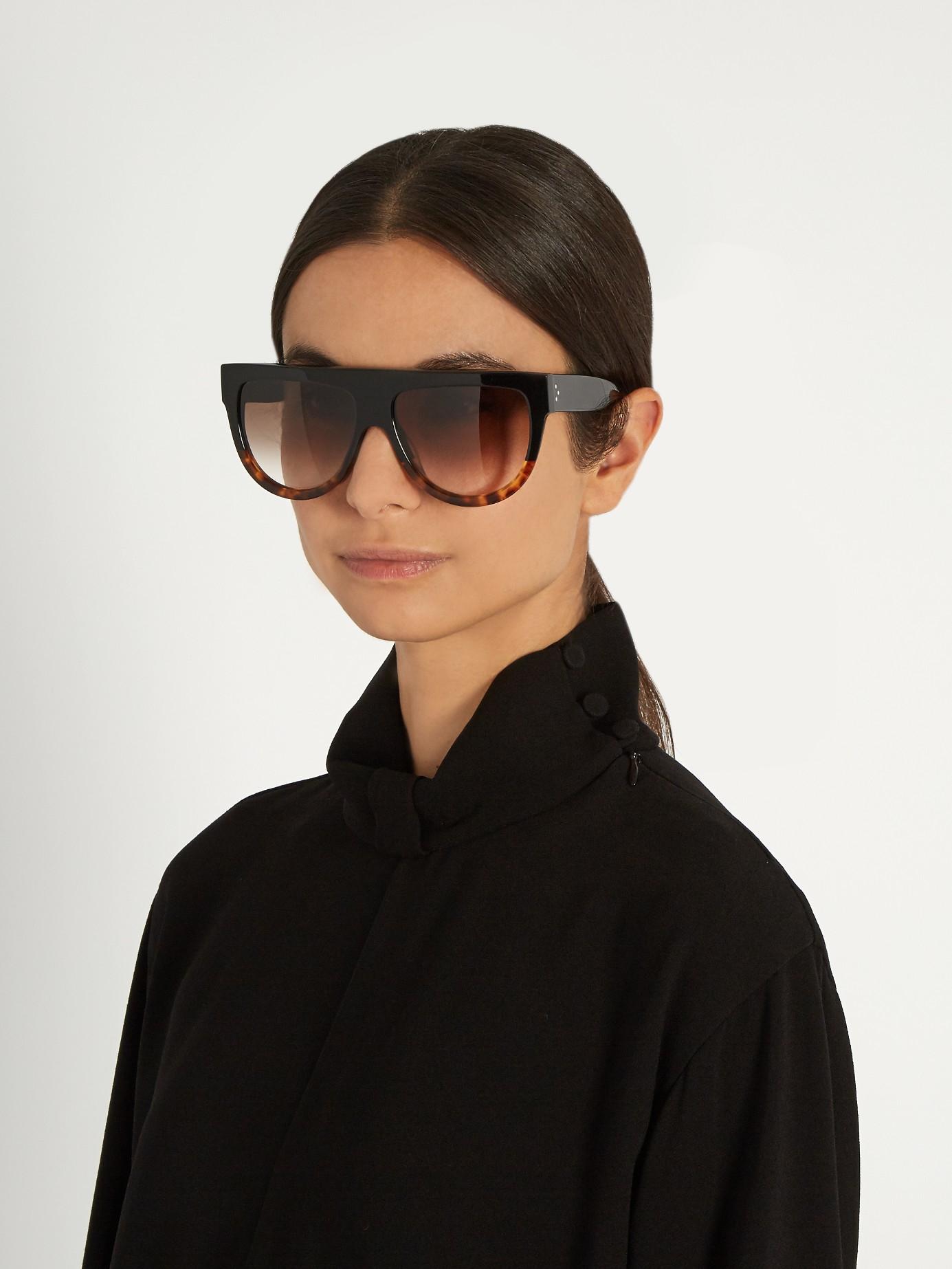 1c54351490cc Céline D-frame Flat-top Sunglasses in Black - Lyst