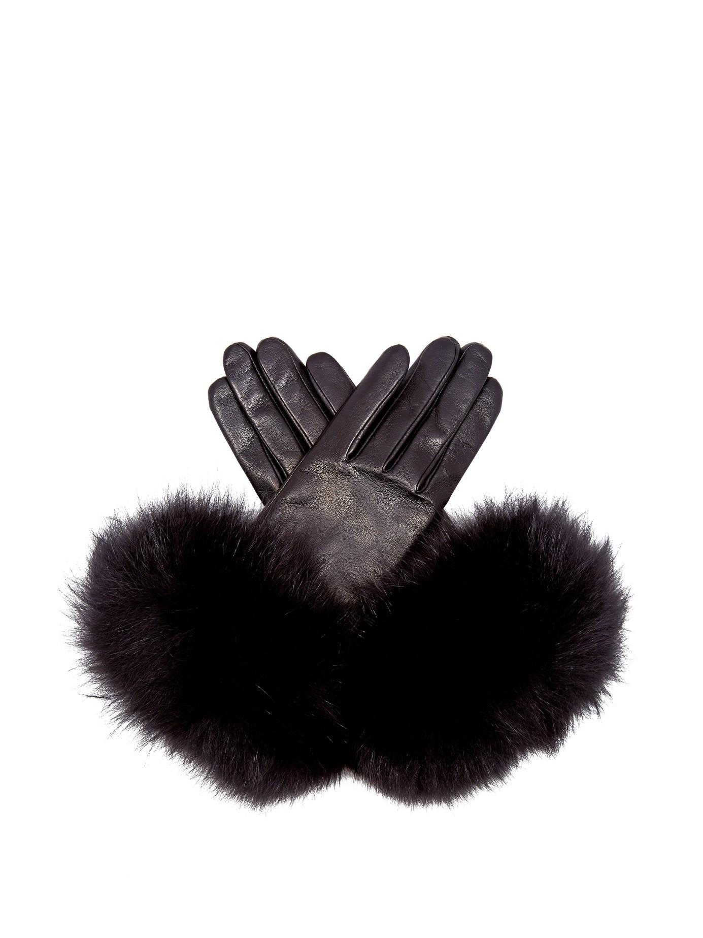 Black gloves with leopard trim - Gallery