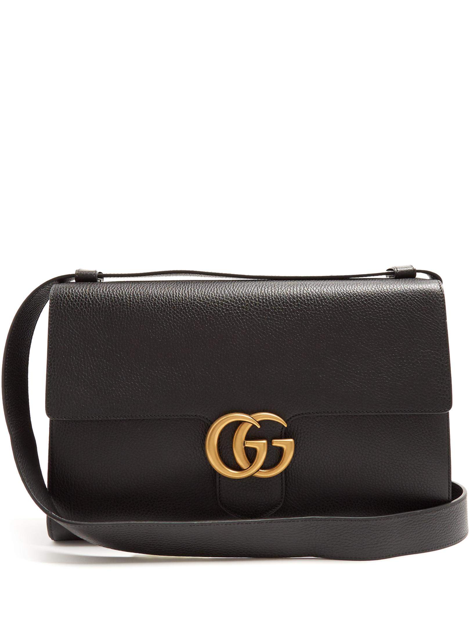 Lyst - Gucci Gg Marmont Grained-leather Messenger Bag in Black for Men d87c6c5cfeae4
