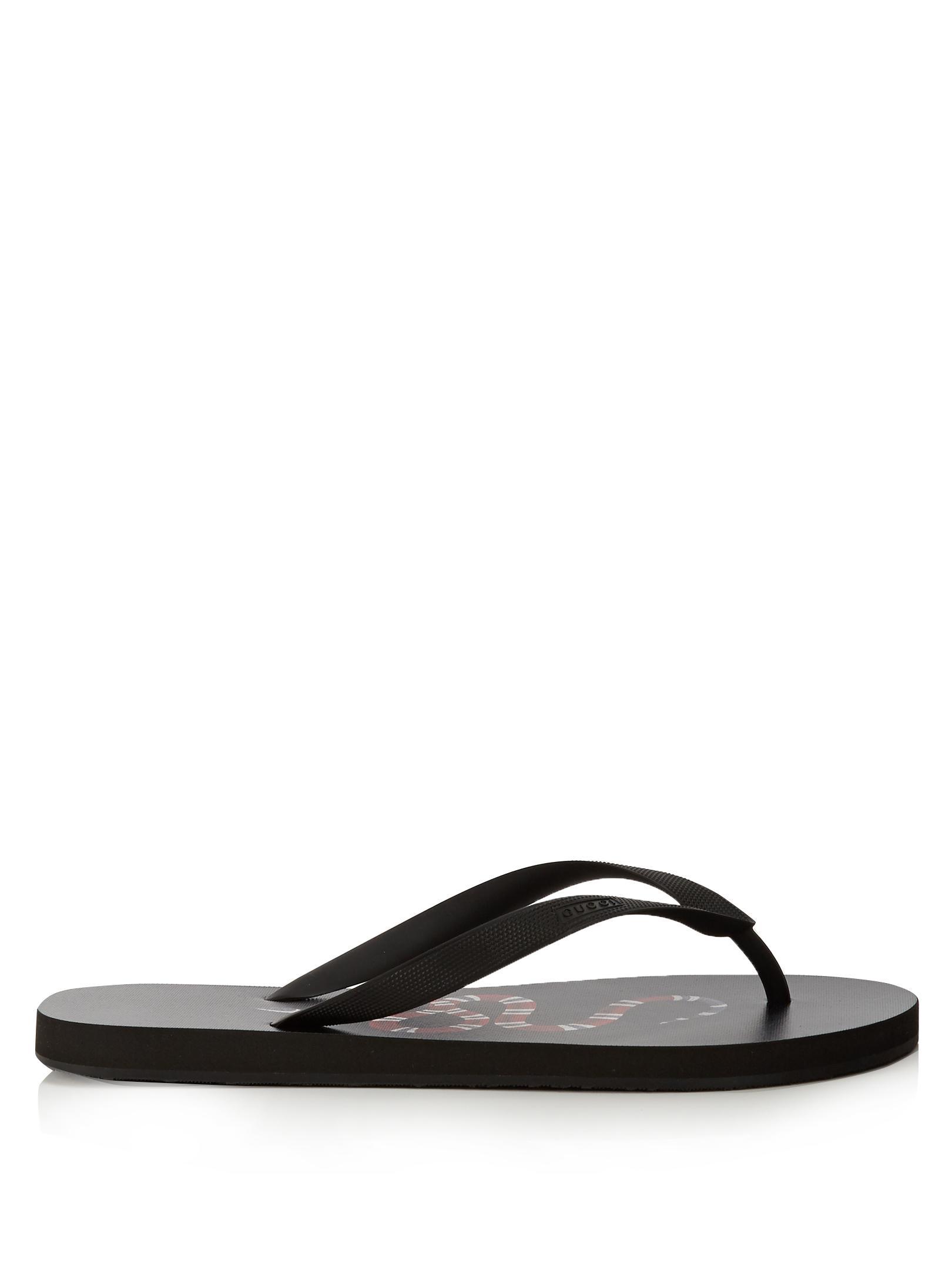 8337df2ef Gucci Snake-print Flip Flops in Black for Men - Lyst