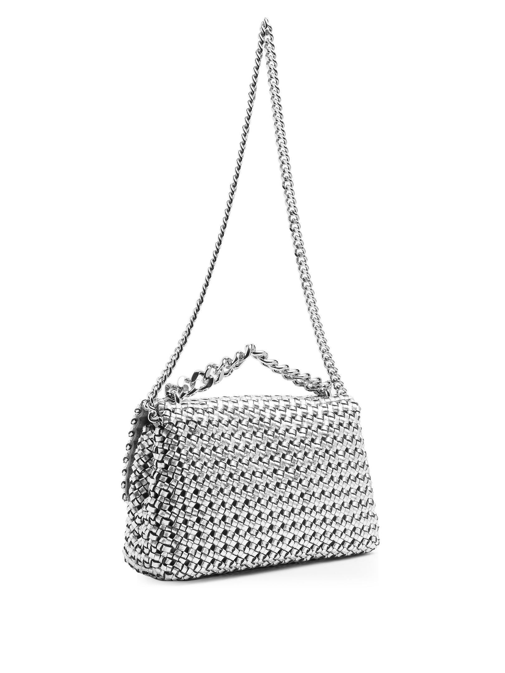 Stella McCartney Becks Woven Faux-leather Cross-body Bag in Metallic - Lyst 7b4150ed7c