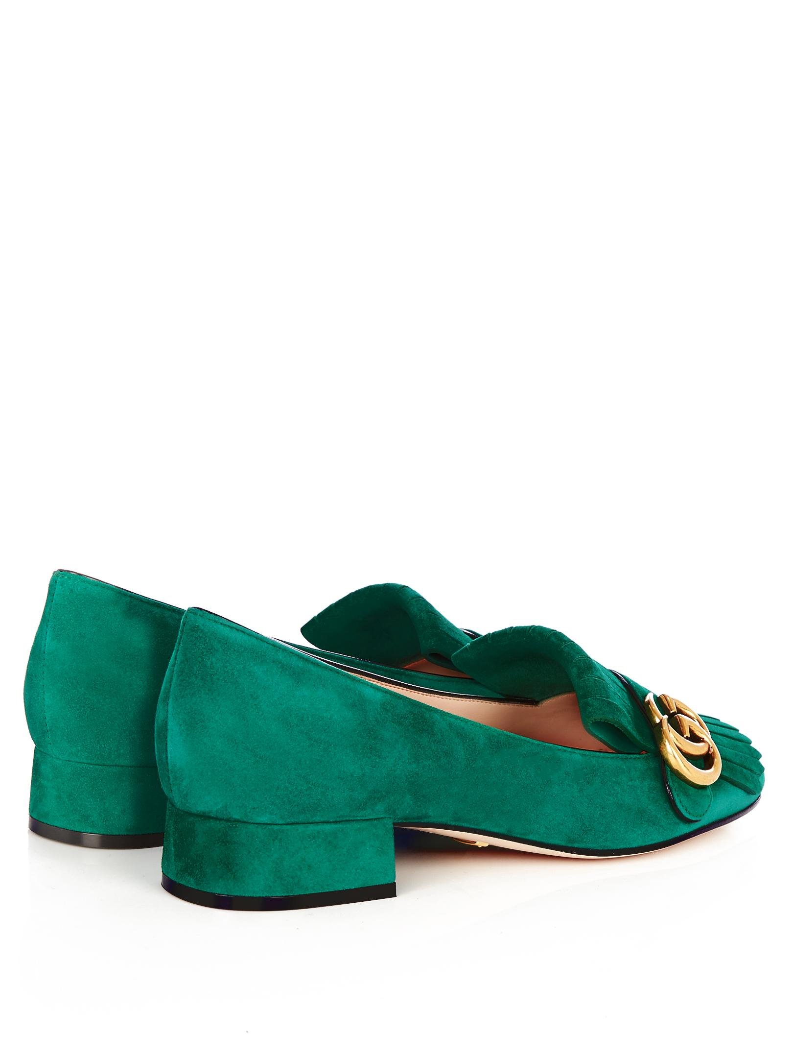 88794dff908 Lyst - Gucci Marmont Fringed Suede Loafers in Green