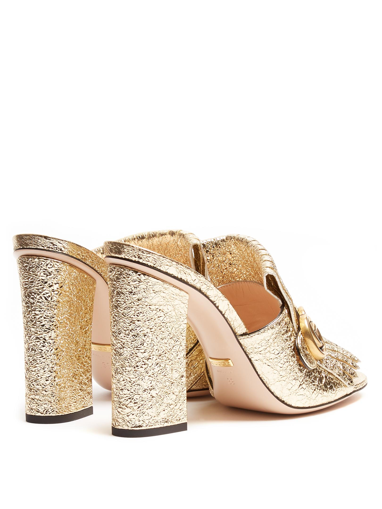 Lyst Gucci Marmont Fringed Leather Sandals In Metallic