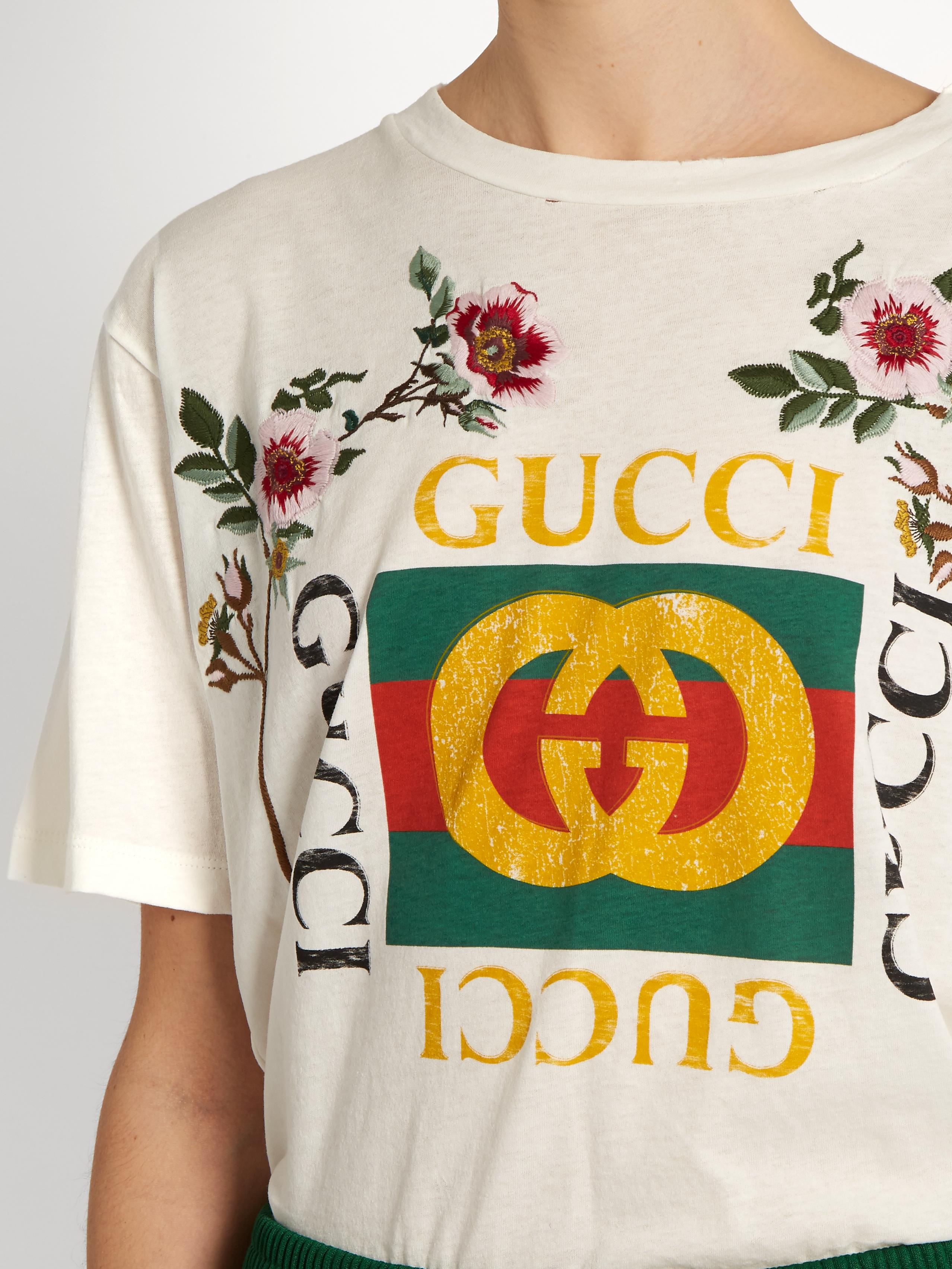 Lyst Gucci Distressed And Embroidered Logo T Shirt In White