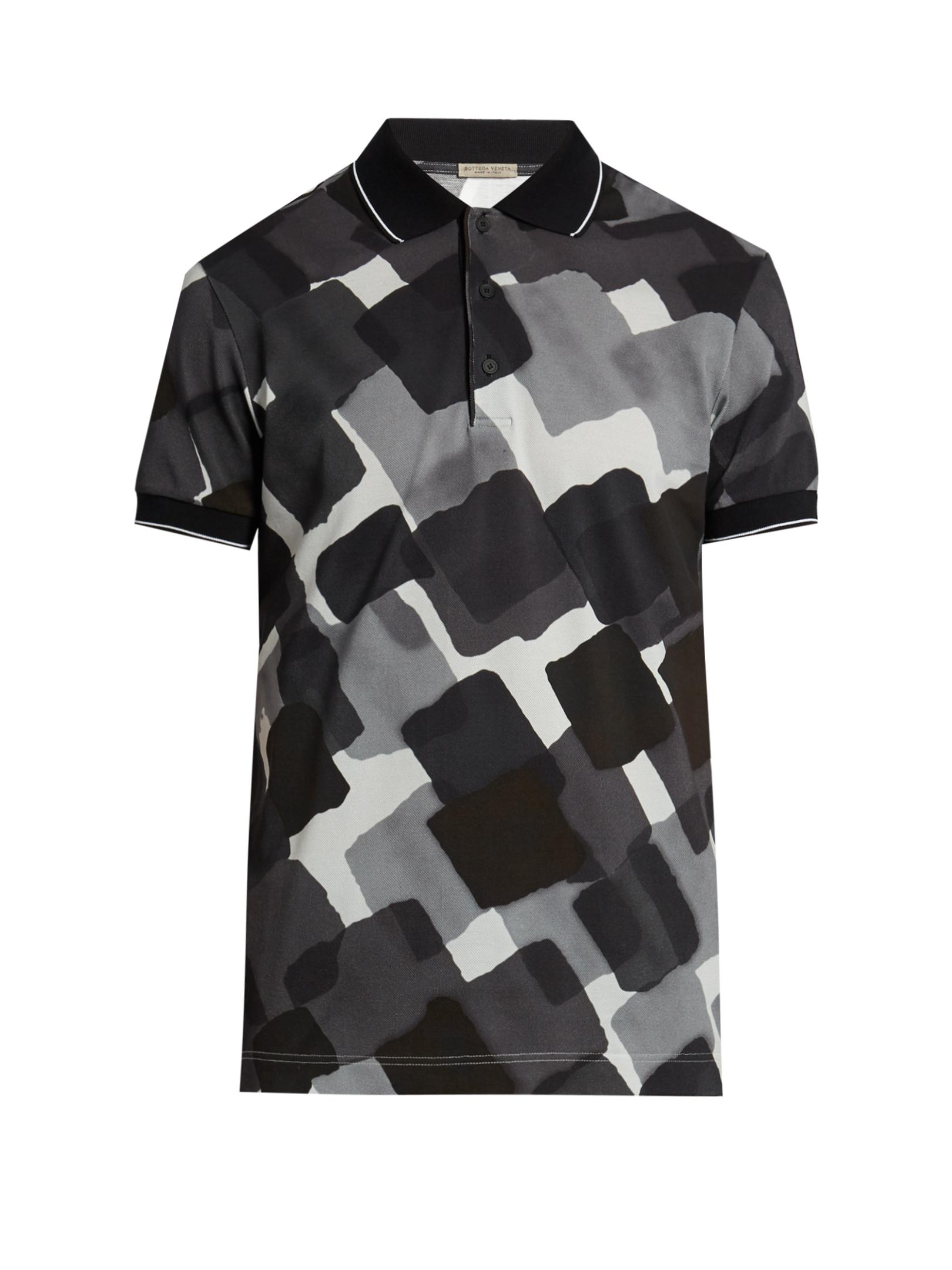 Lyst bottega veneta abstract print cotton polo shirt in for Bottega veneta t shirt