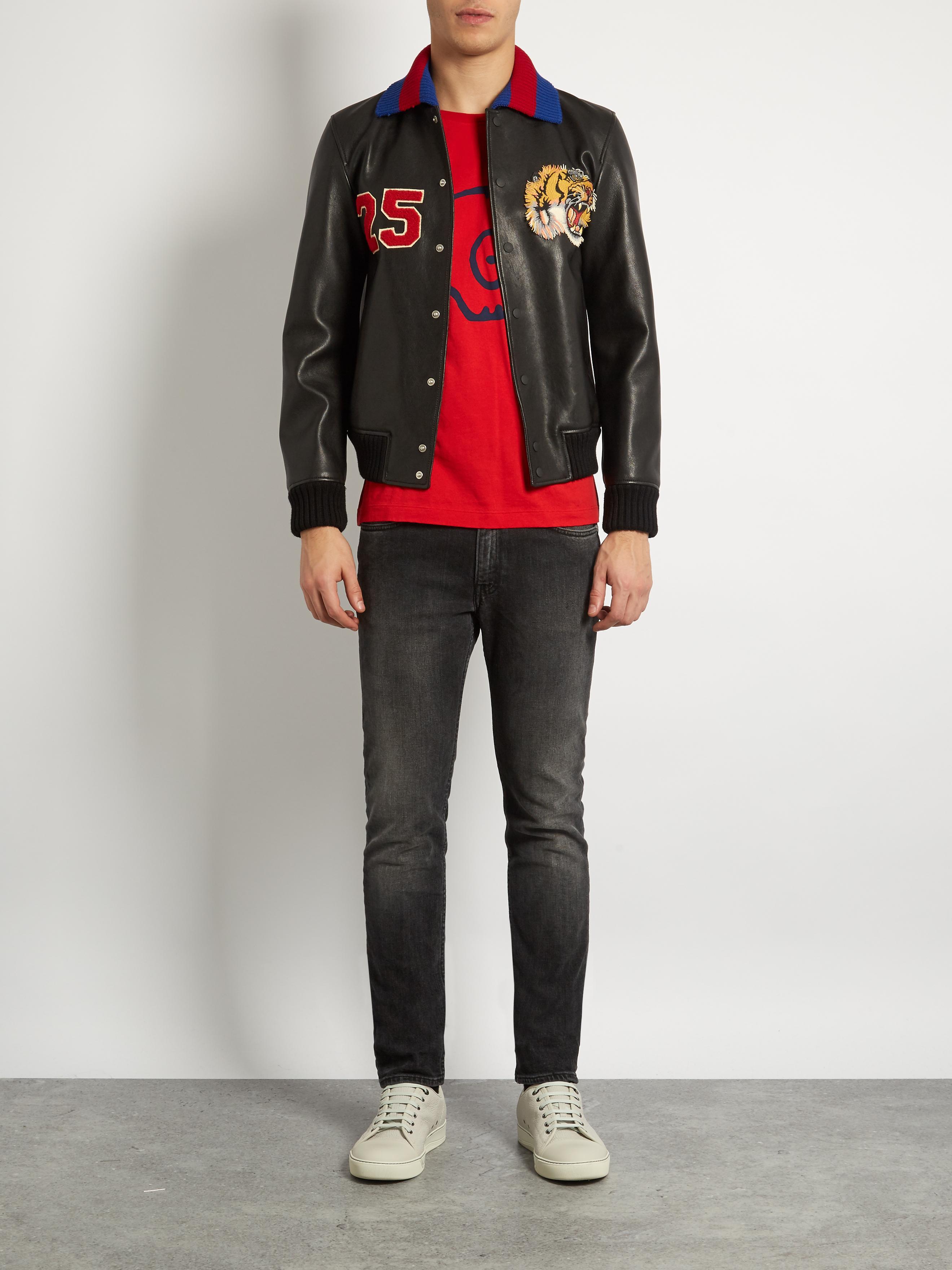 Lyst Gucci Tiger Appliqu 233 Leather Bomber Jacket In Black