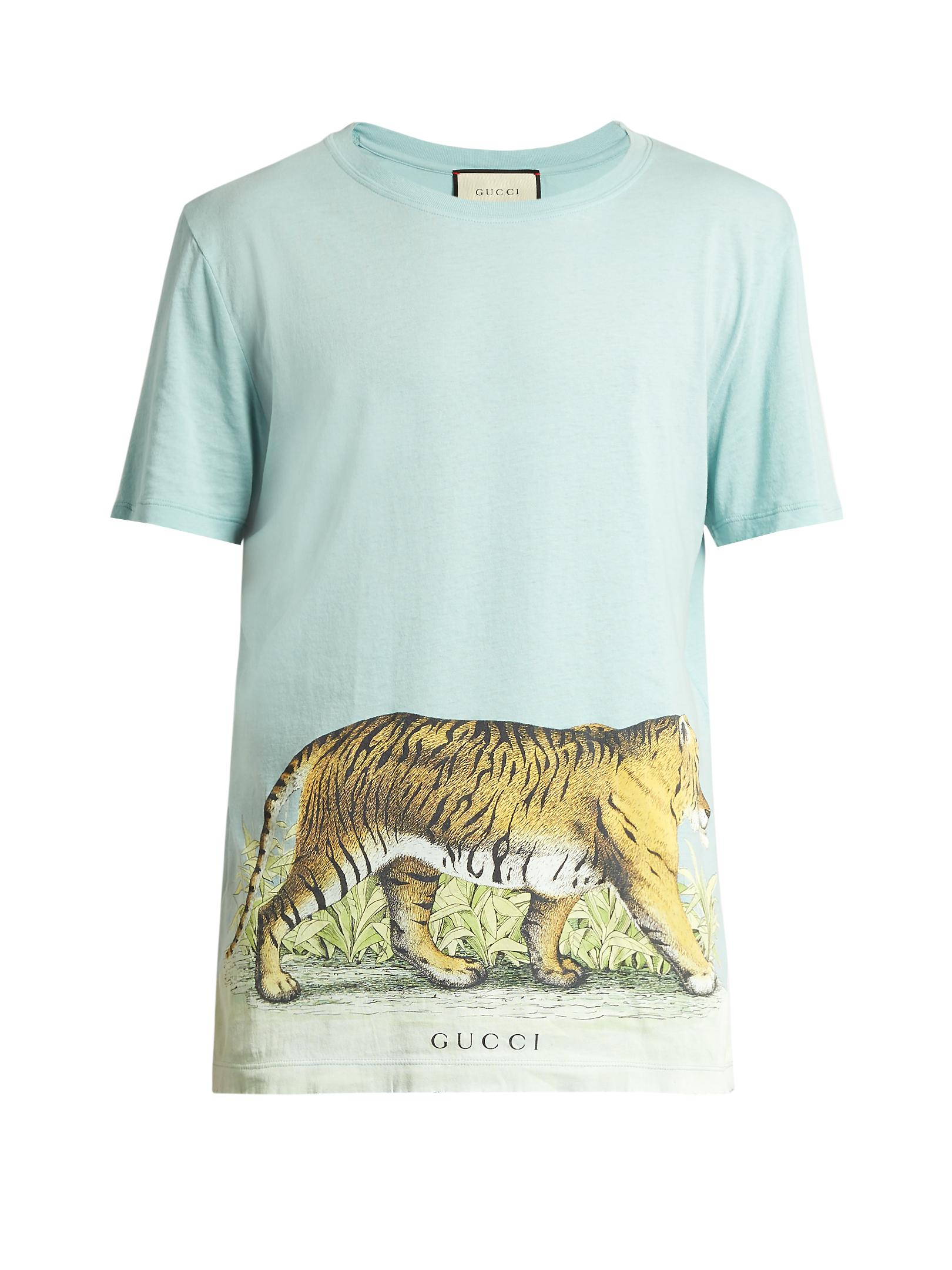 92eb22aa Gucci Walking Tiger-print Short-sleeved Cotton T-shirt in Blue for ...