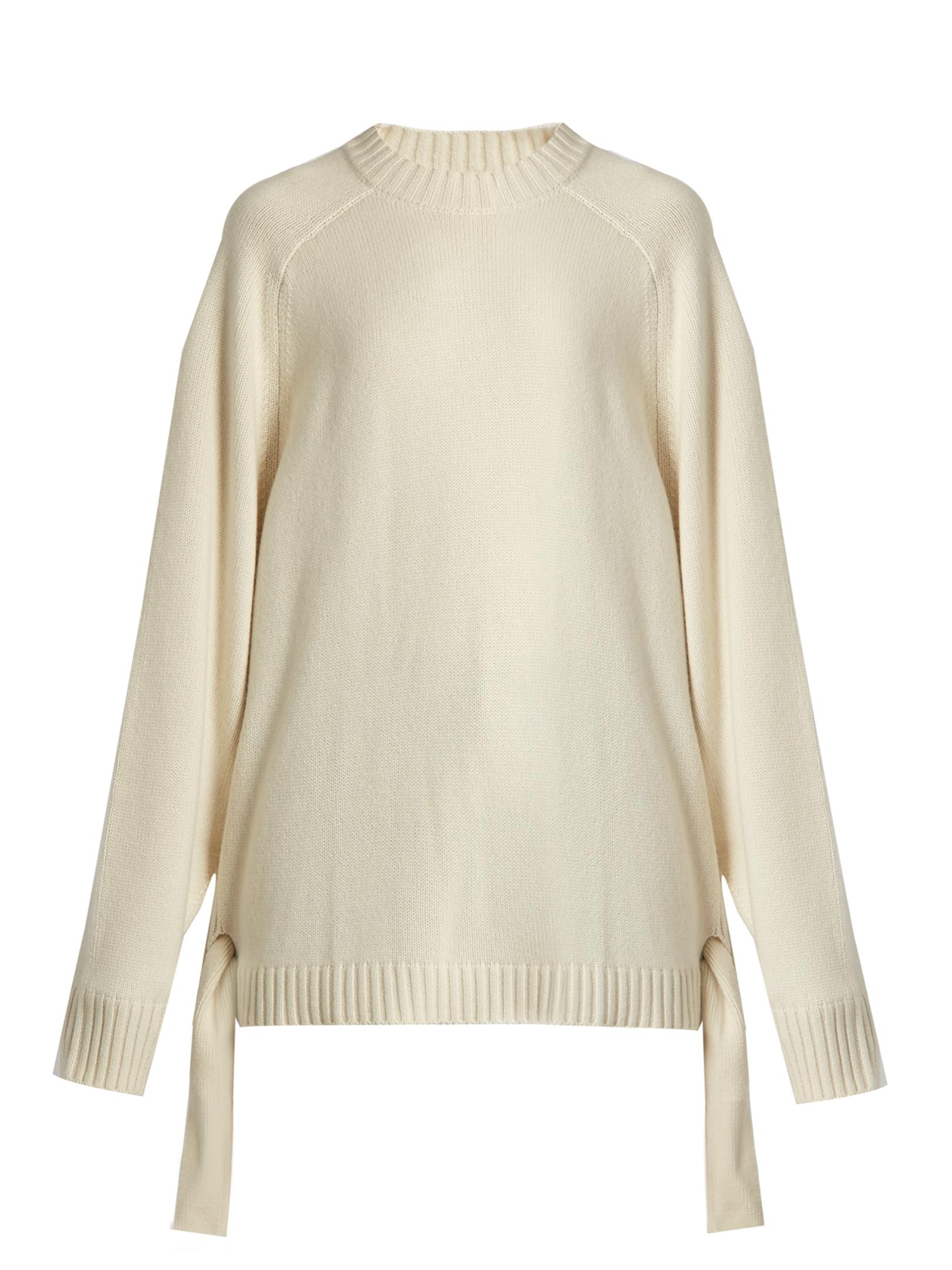 Tibi Tie-side Cashmere Sweater in White | Lyst