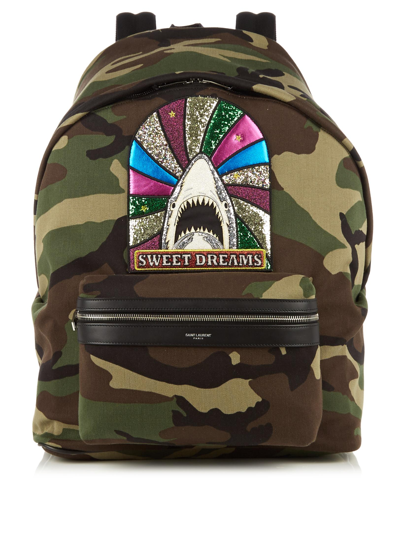 Saint Laurent Giant City Camouflage-print Cotton Backpack in Green ... b9b3bf9e83