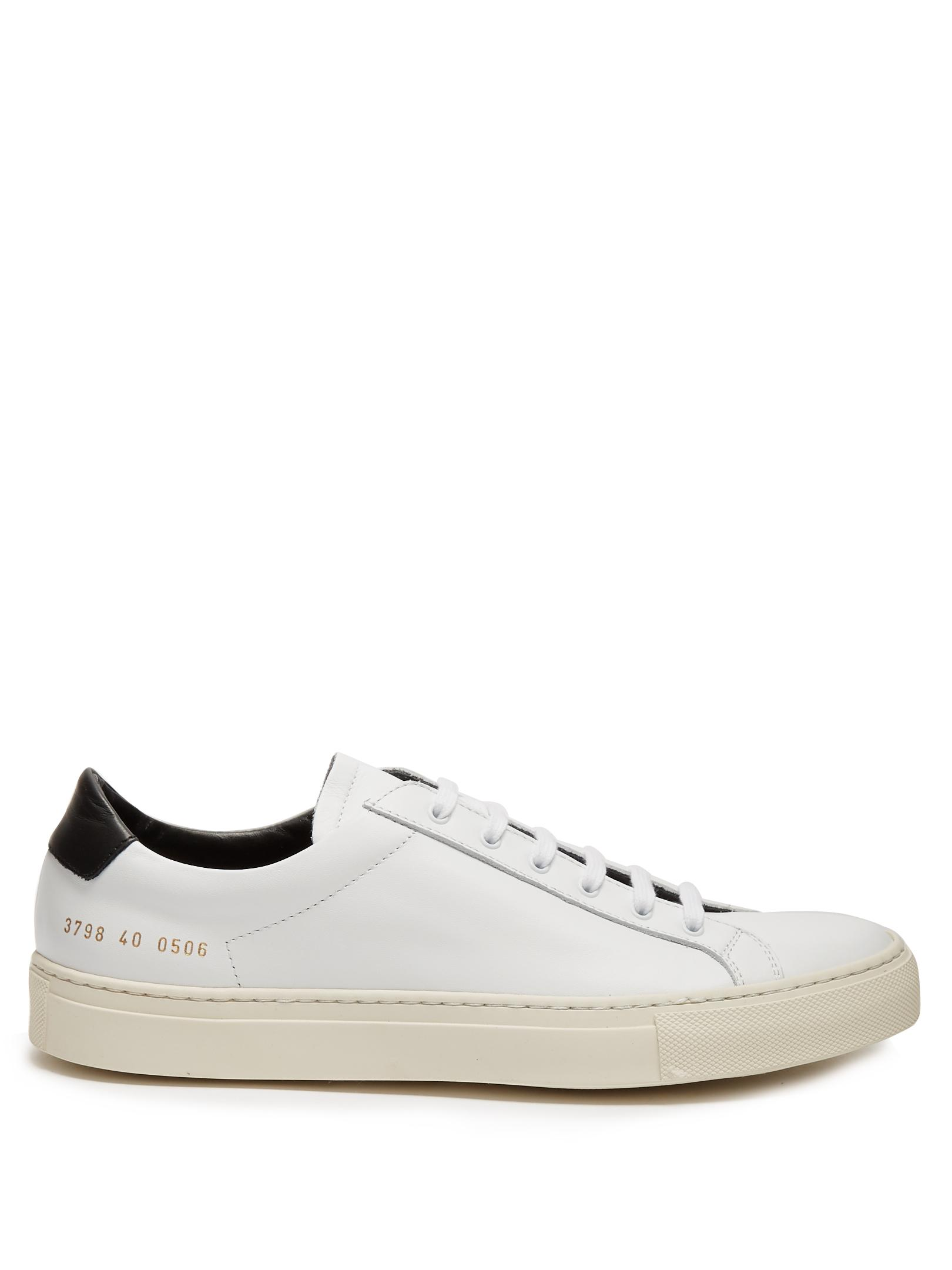 common projects achilles retro low top leather trainers in white lyst. Black Bedroom Furniture Sets. Home Design Ideas