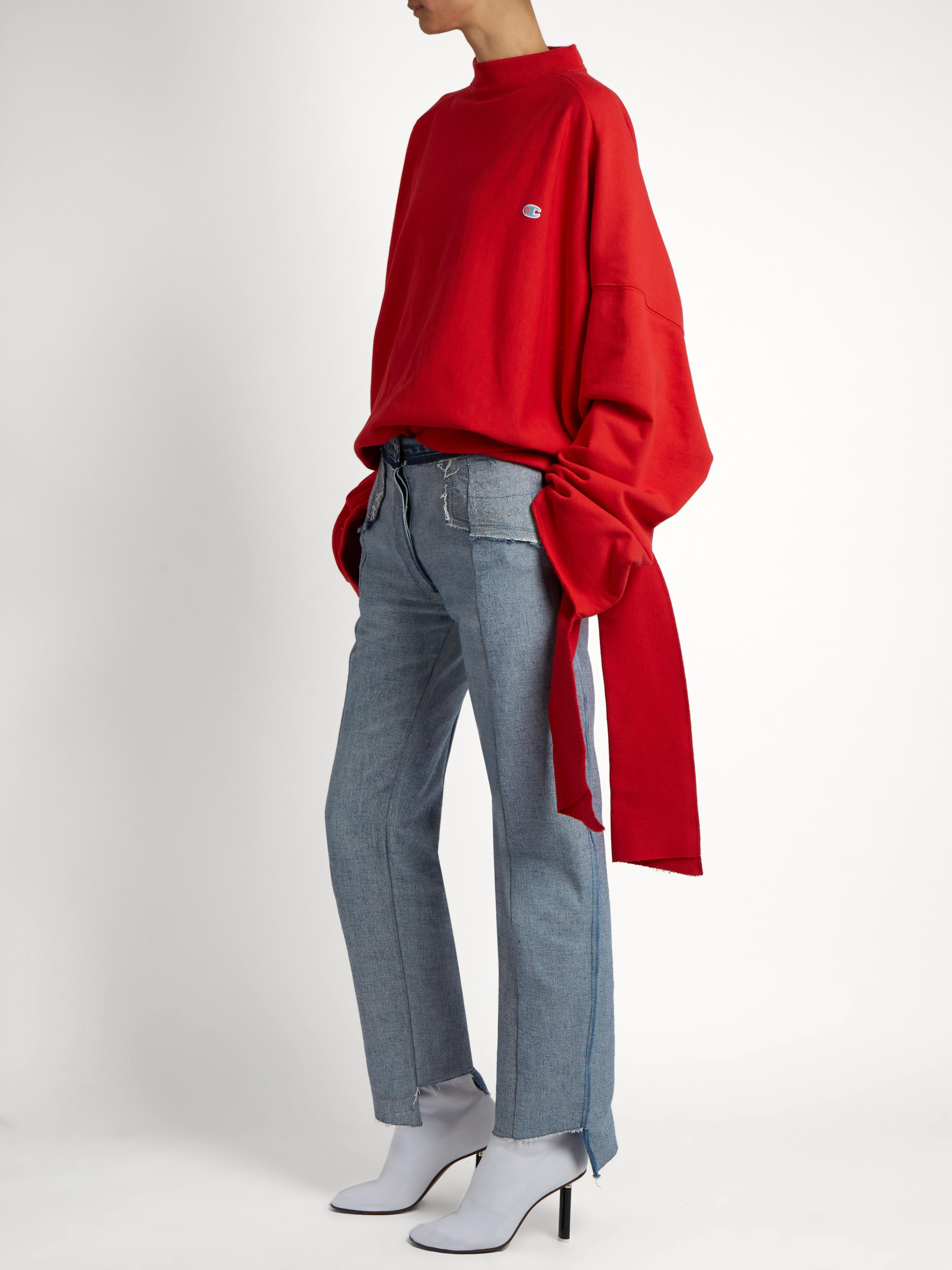 f599c95ce3a2 Lyst - Vetements X Champion Oversized Cotton-blend Sweatshirt in Red