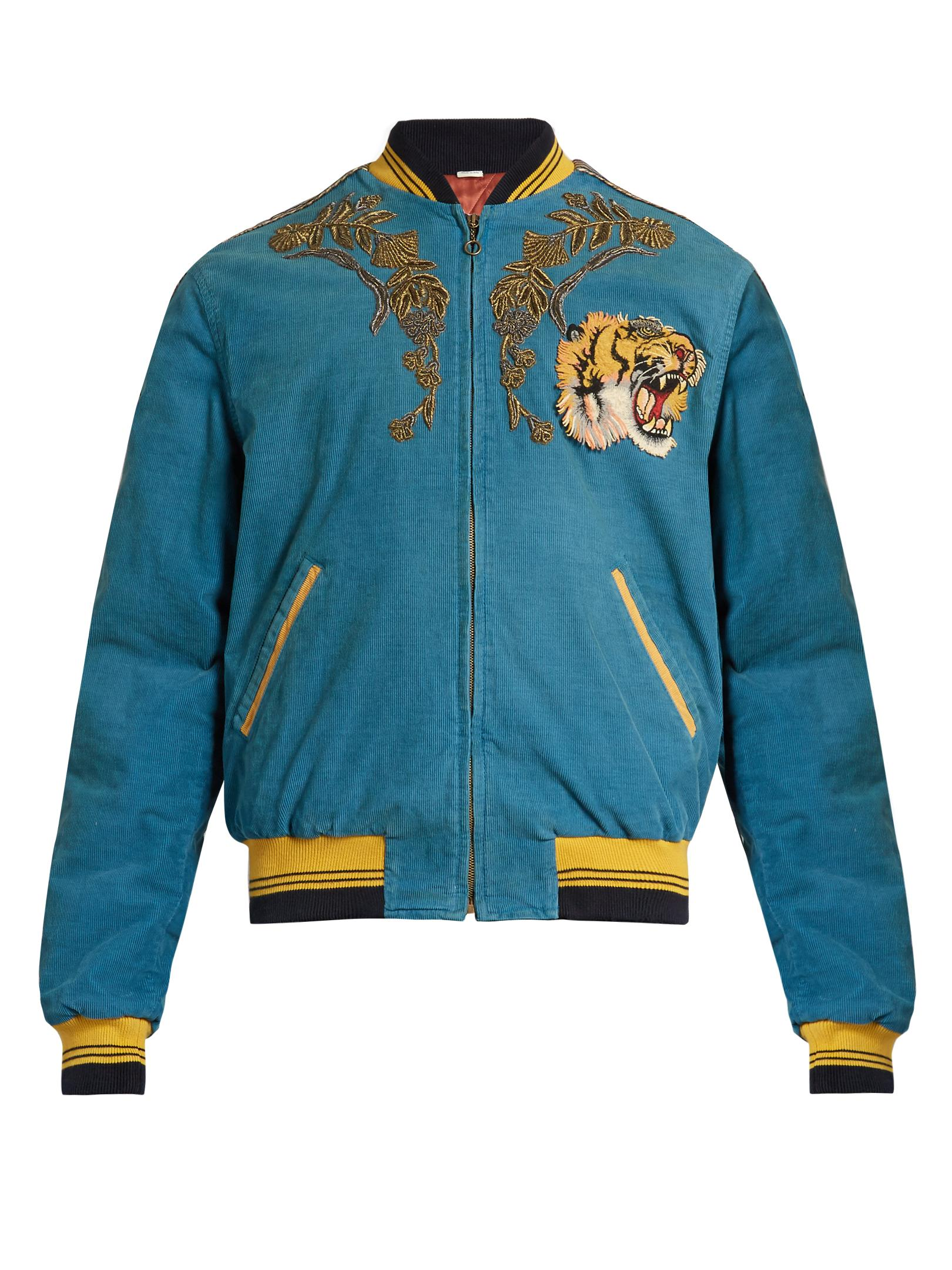 Gucci dragon embroidered corduroy bomber jacket in blue
