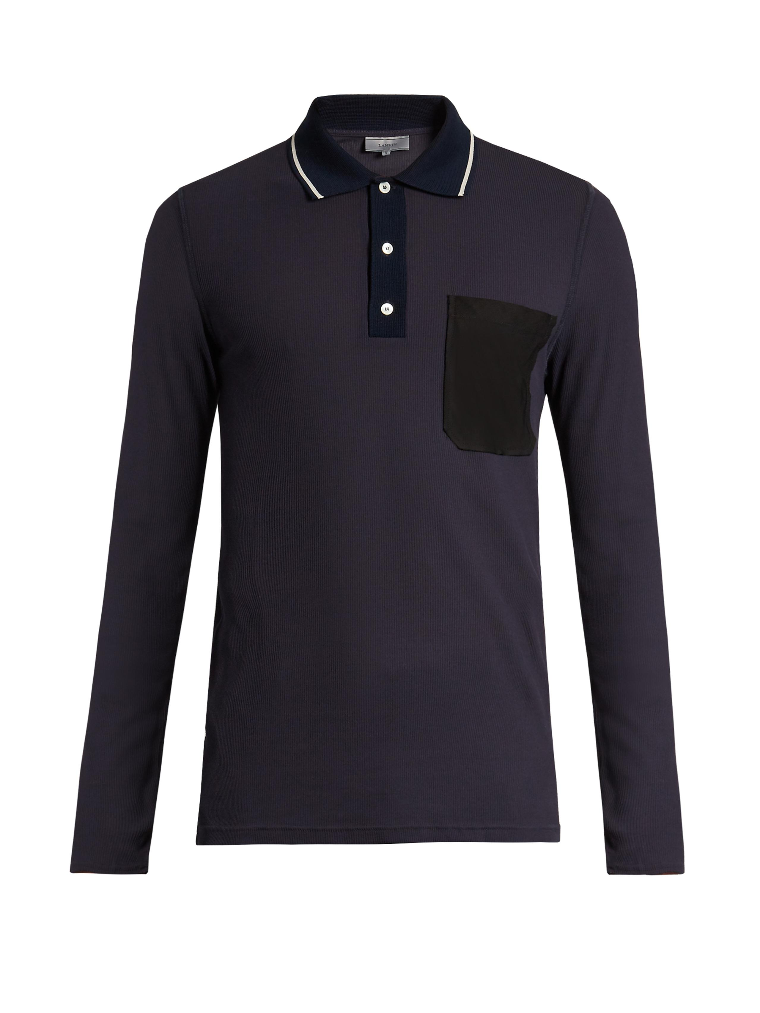 Lanvin patch pocket ribbed cotton polo shirt in blue for for Men s cotton polo shirts with pocket