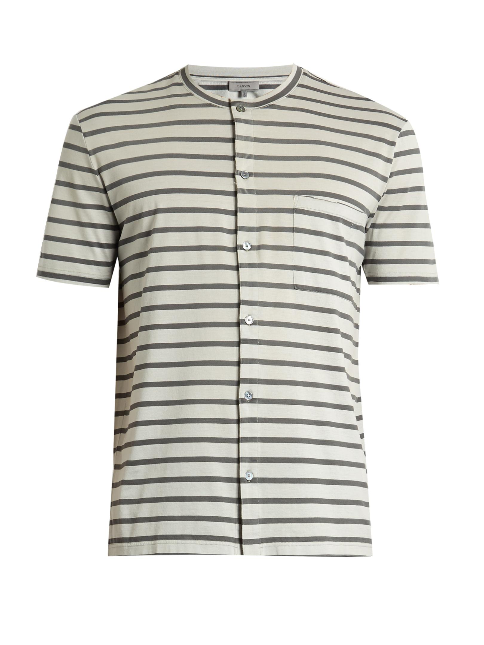Lyst lanvin striped button through cotton t shirt in for Grey striped t shirt