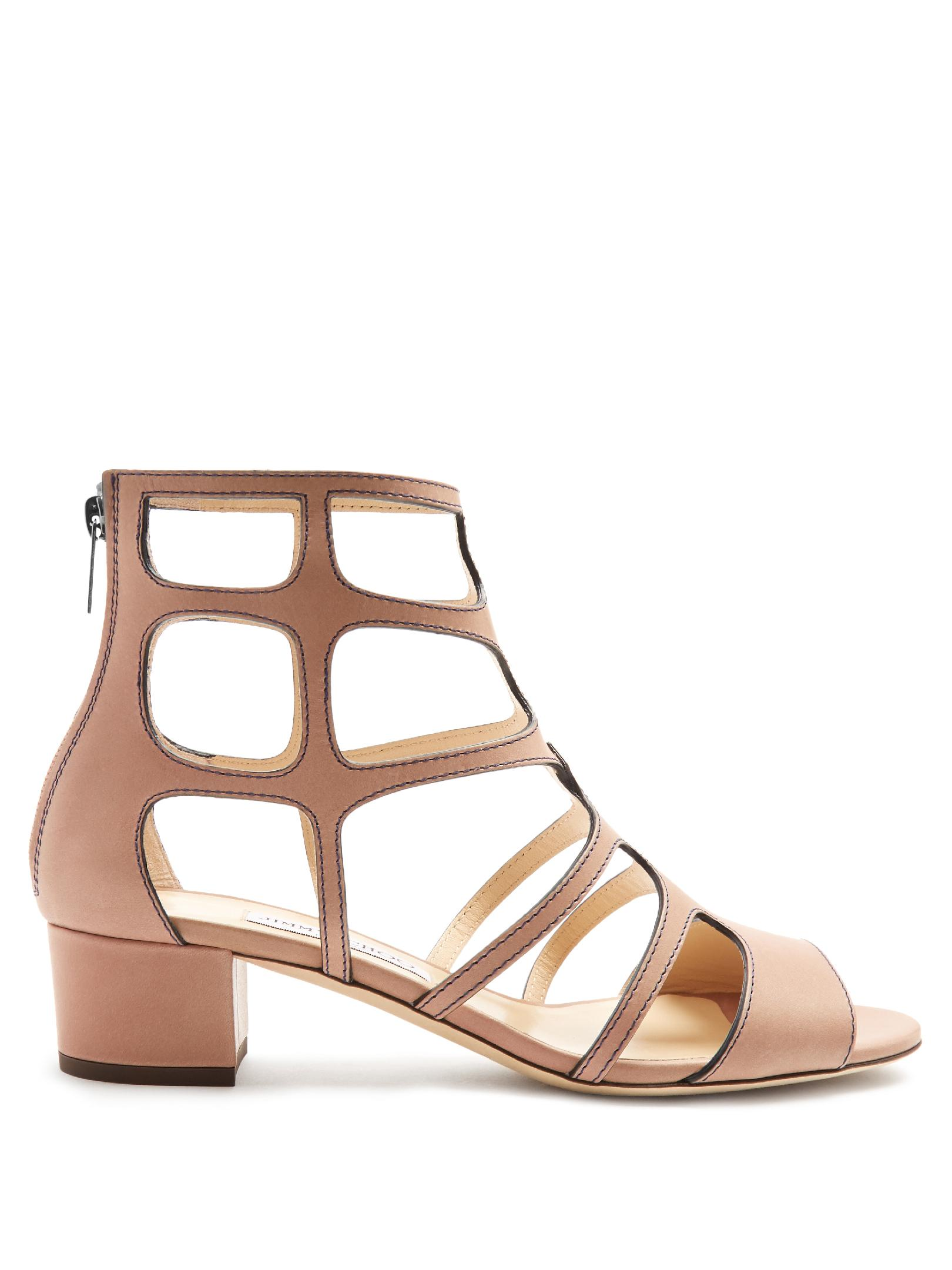 f2e1346506c9 Lyst - Jimmy Choo Ren 35mm Block-heel Leather Sandals in Natural
