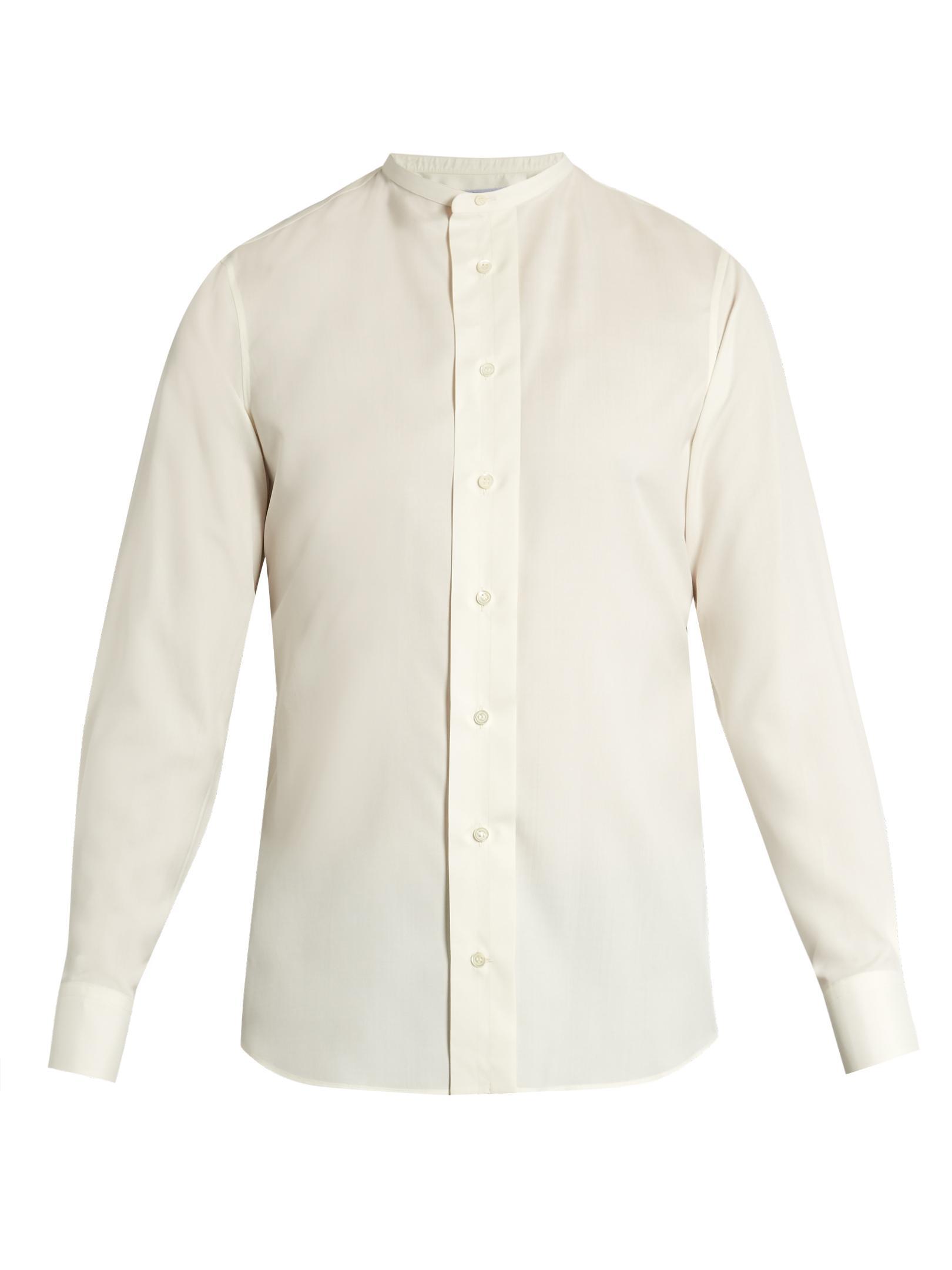 Lyst Alexander Mcqueen Collarless Silk Shirt In White