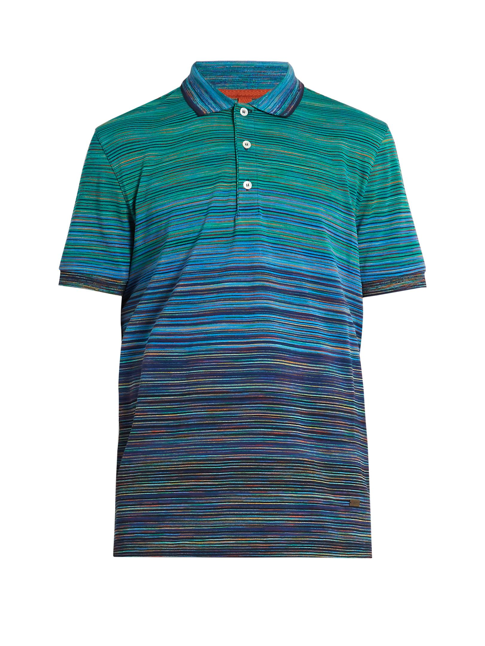 missoni classic polo shirt in blue for men lyst