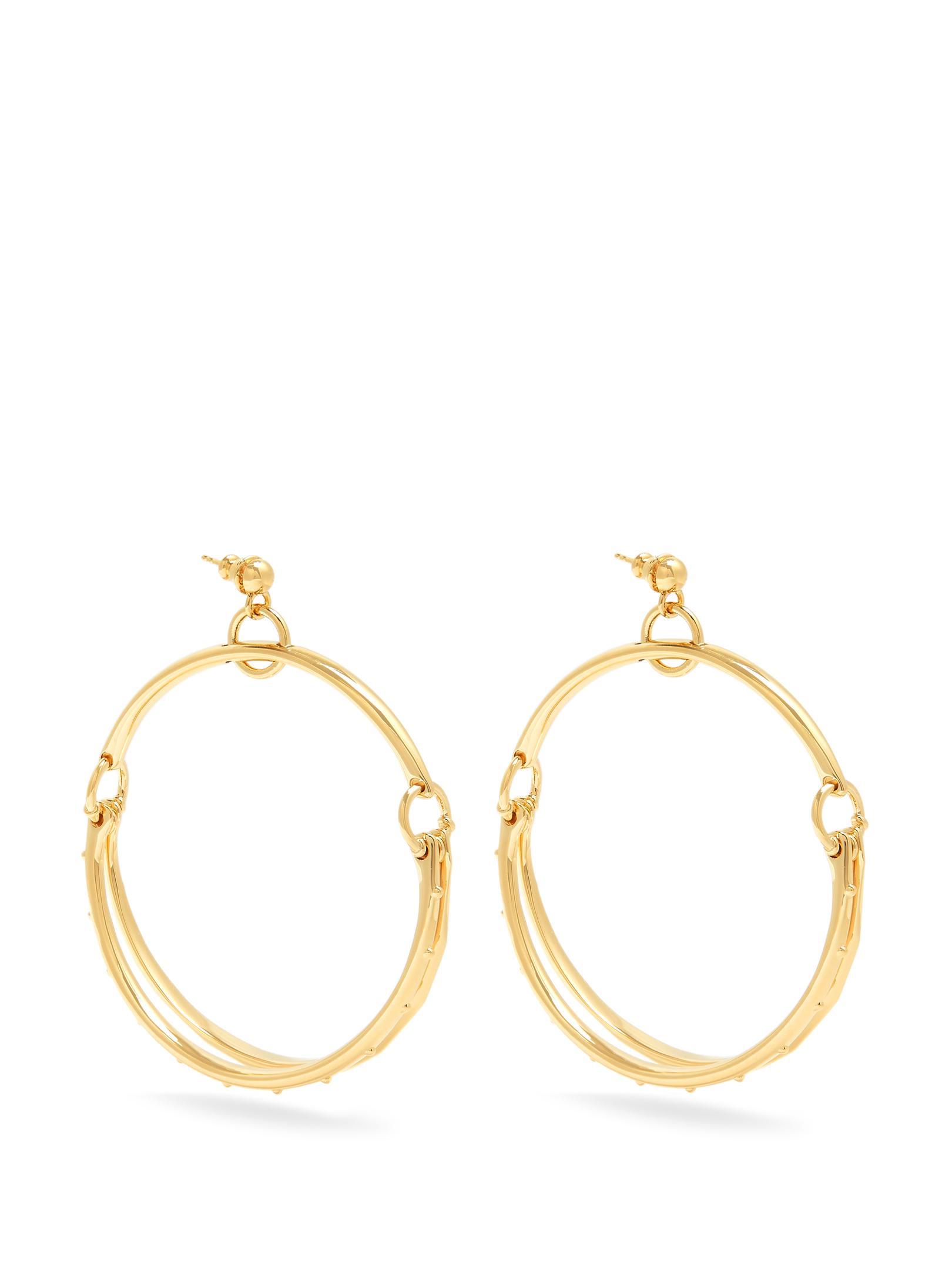 lyst chlo nile double hoop earrings in metallic. Black Bedroom Furniture Sets. Home Design Ideas