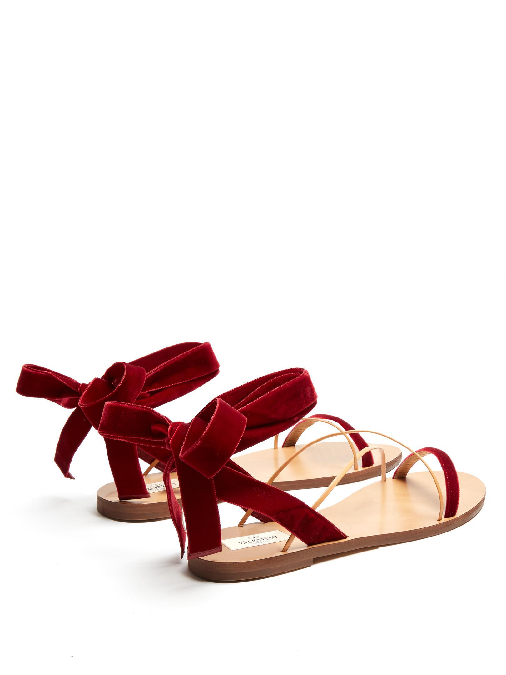 Valentino Velvet Flat Sandals In Red Lyst