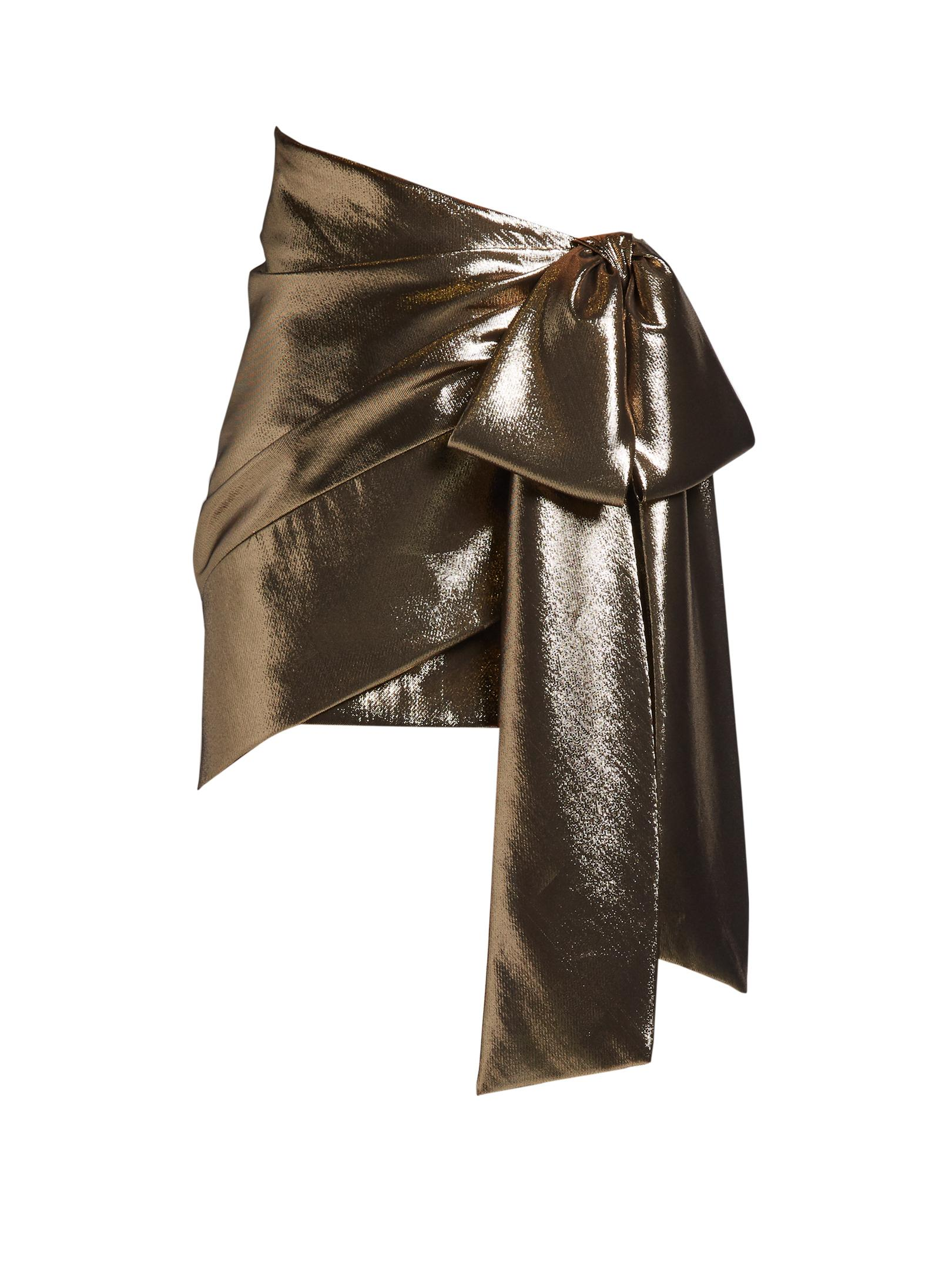 laurent tie side ruched lam 233 mini skirt in metallic