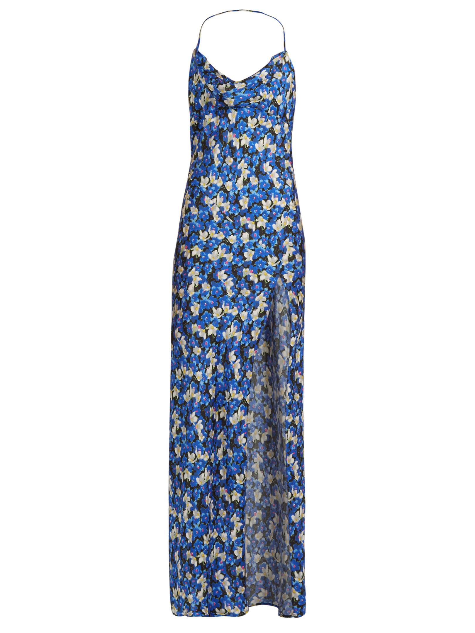Lyst Attico Leticia Floral Print Maxi Dress In Blue
