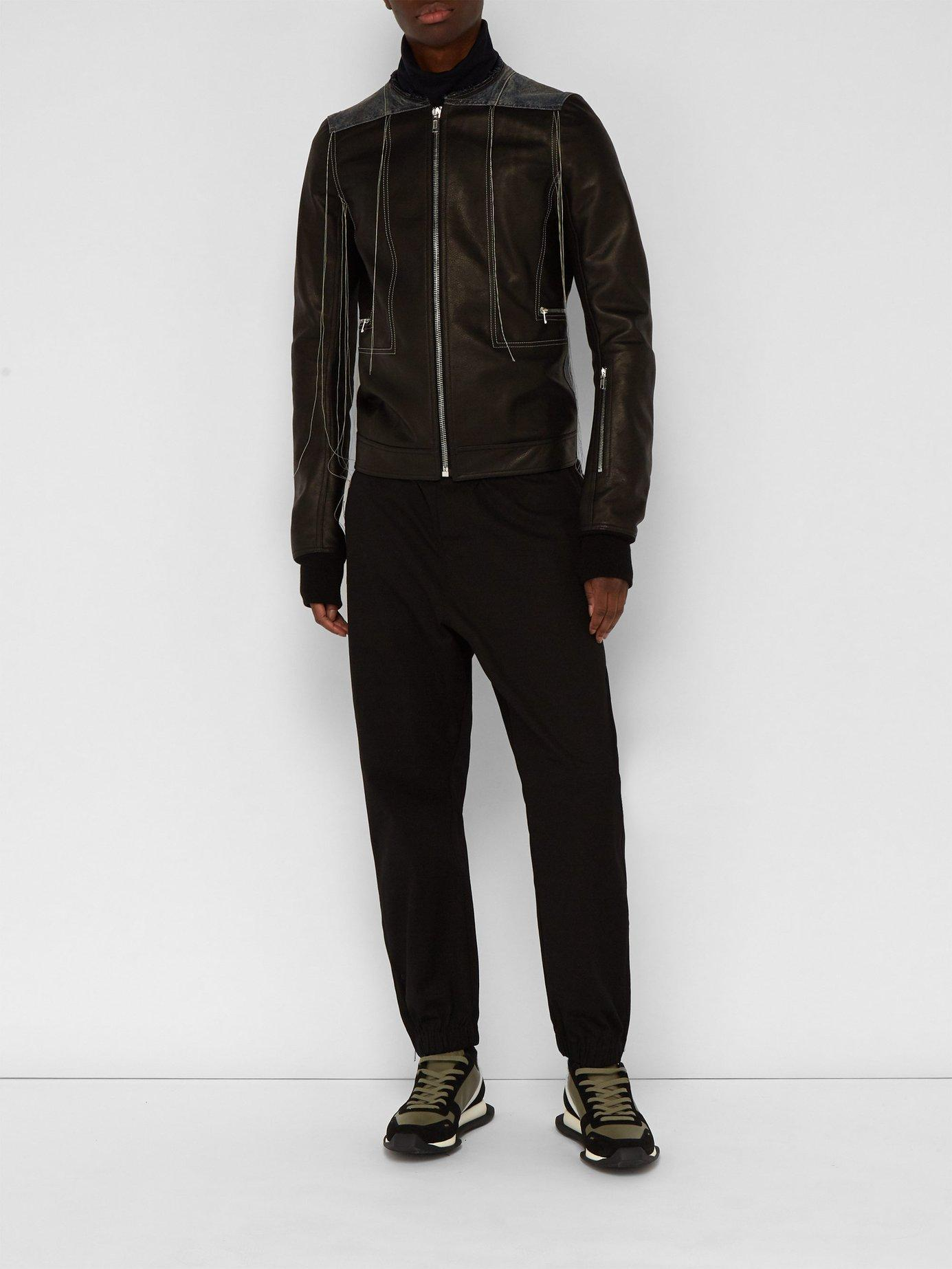 b7dc0382c34e Rick Owens - Black Rotterness Denim Patch Strand Leather Jacket for Men -  Lyst. View fullscreen