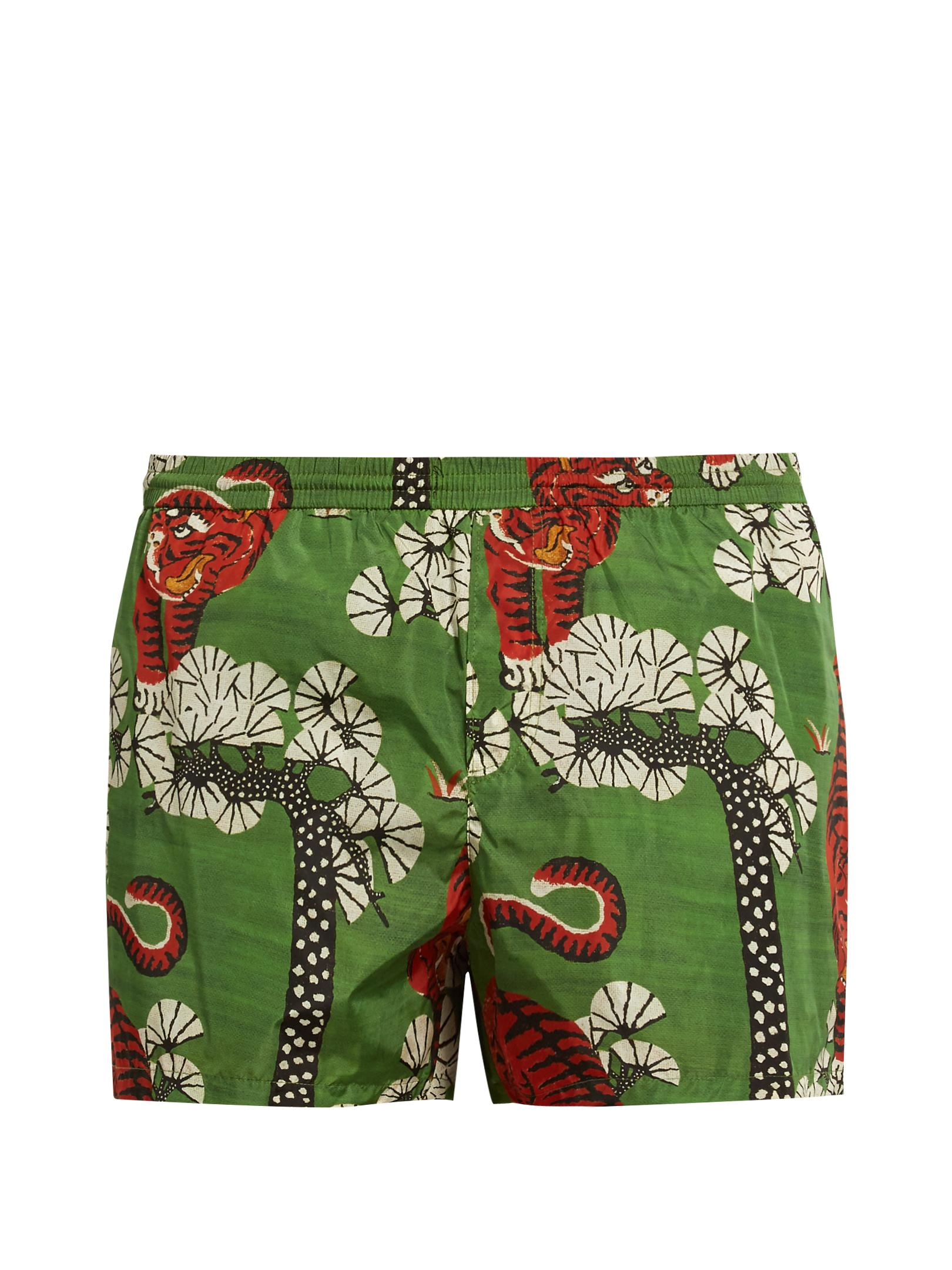 1be55766cc366 Gucci Tiger-print Nylon Swim Shorts in Green for Men - Lyst