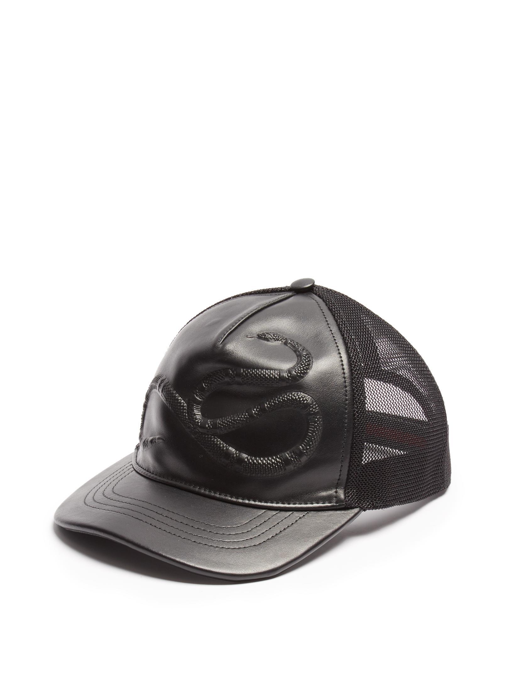 4025f734b54 Lyst - Gucci Snake-embossed Leather Baseball Cap in Black for Men