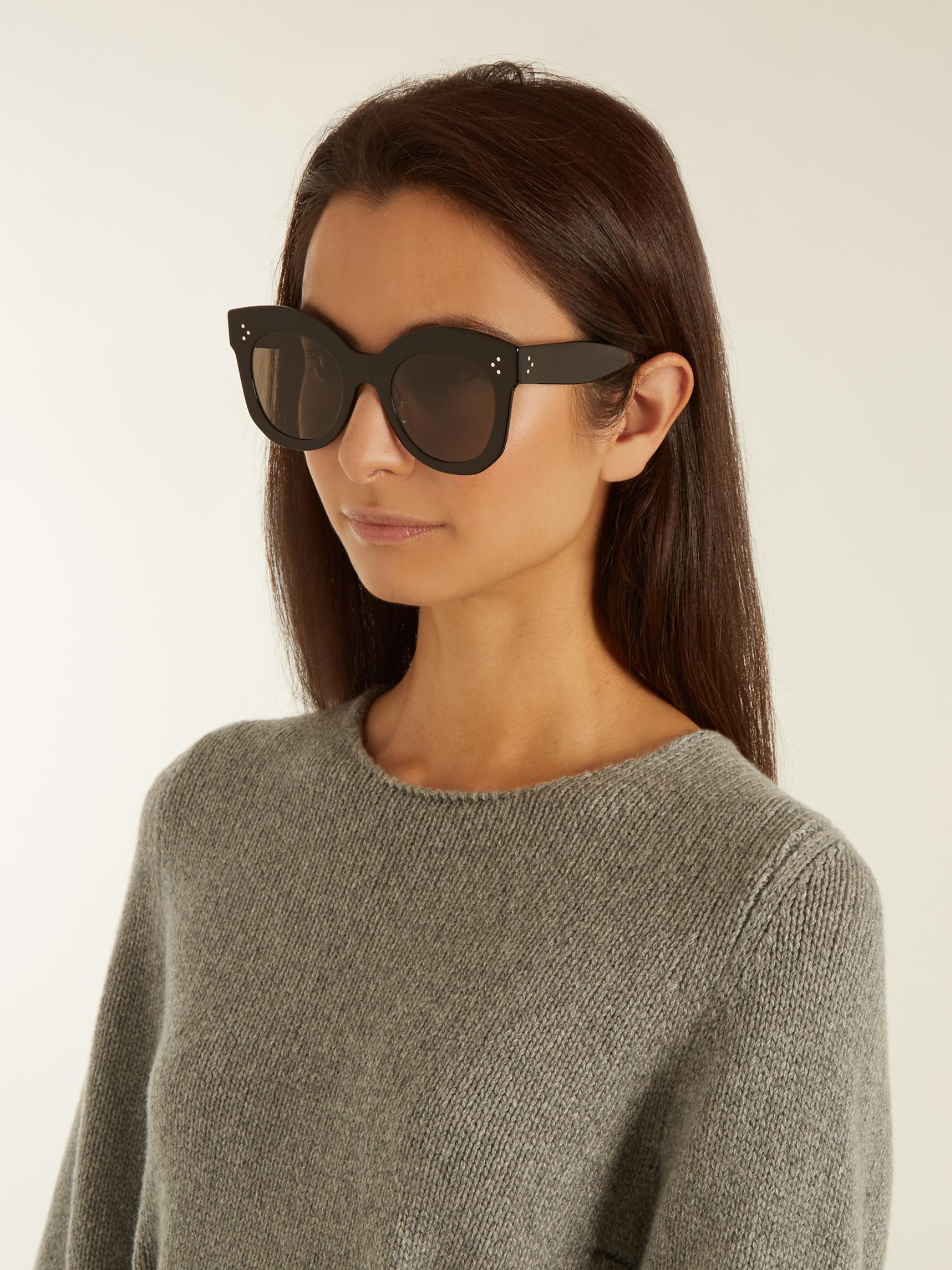 10007c7a47774 Céline Chris Cat-eye Acetate Sunglasses in Black - Lyst