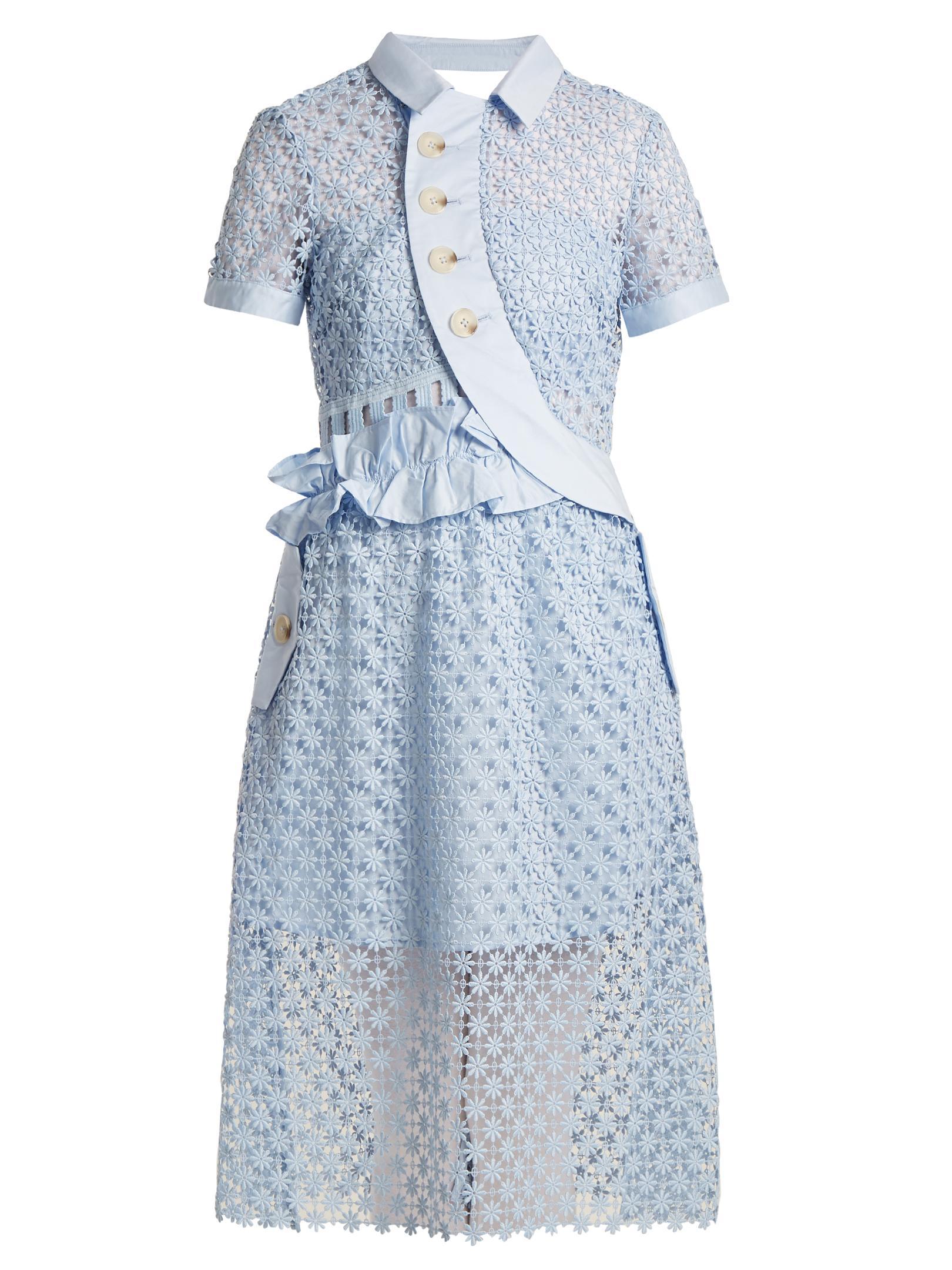 Self portrait Ruffled Cut out Lace Midi Dress in Blue