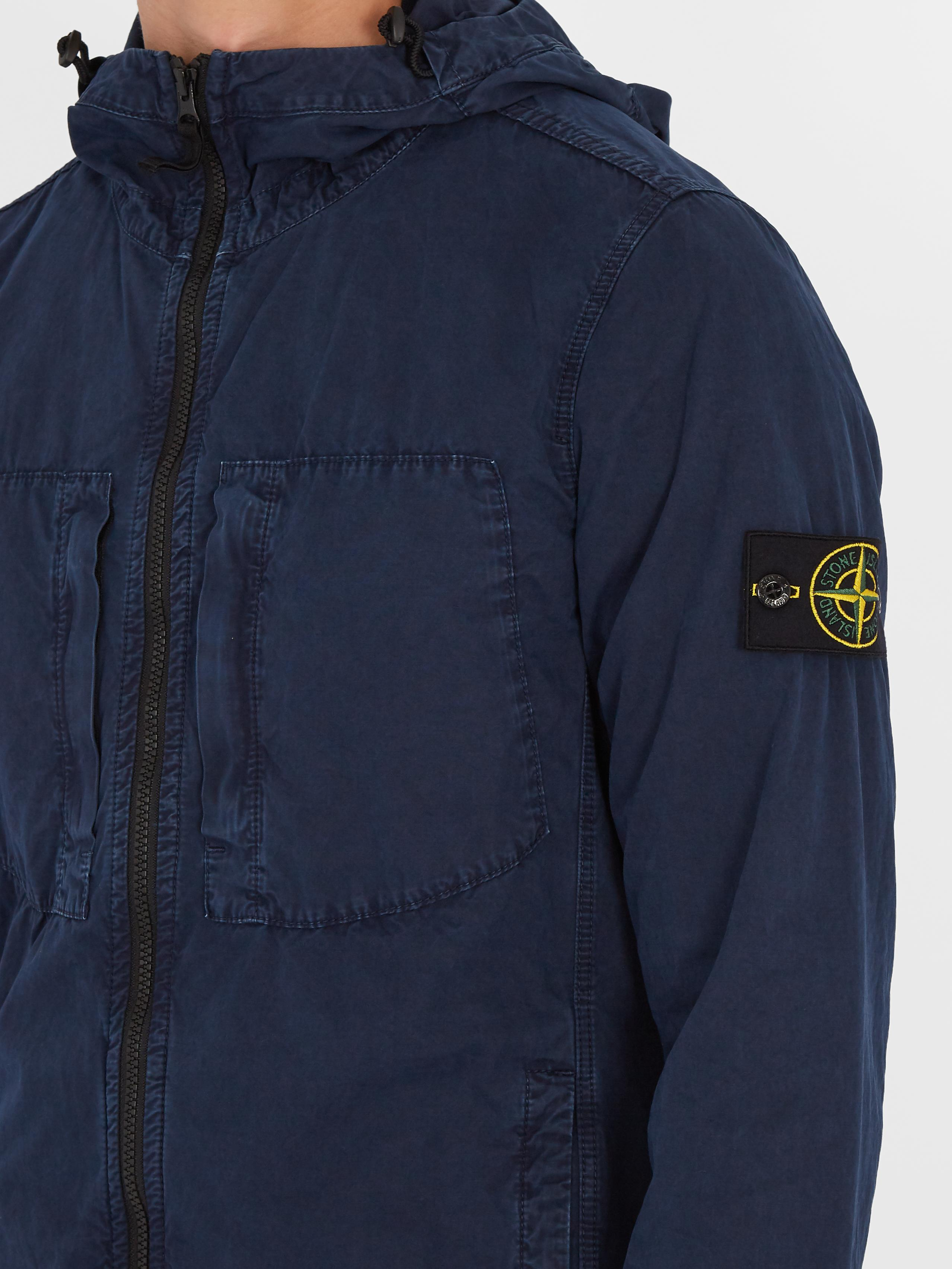 972124996 Lyst - Stone Island Zip-through Brushed-cotton Jacket in Blue for Men