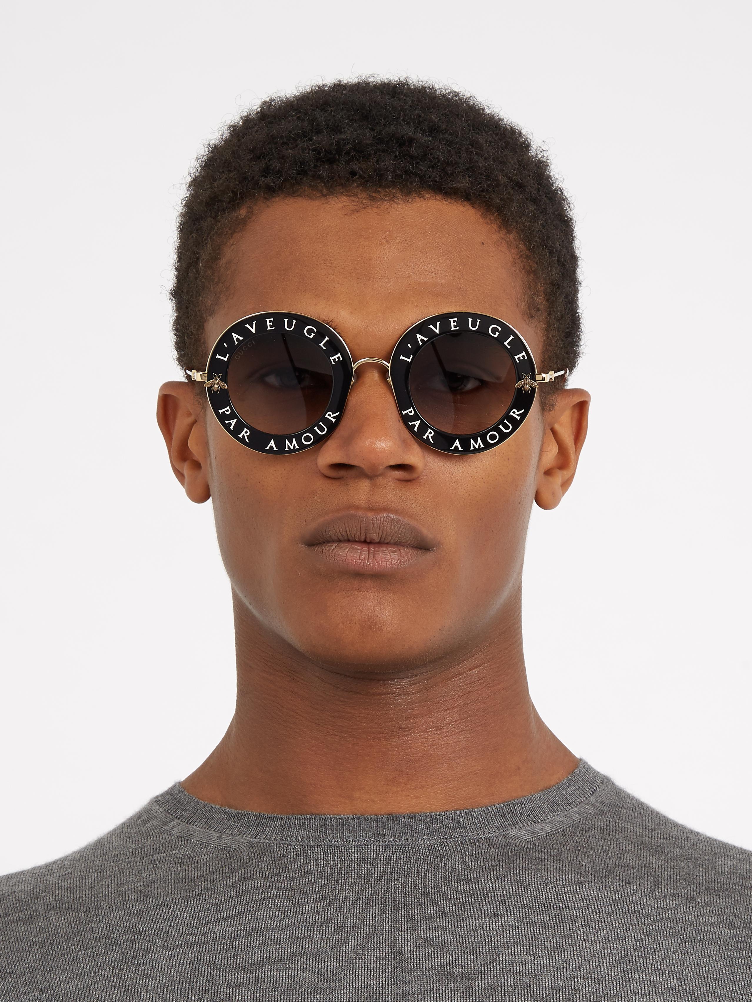 4721ef9e39e Lyst - Gucci L aveugle Par Amour Round-frame Sunglasses in Black for Men