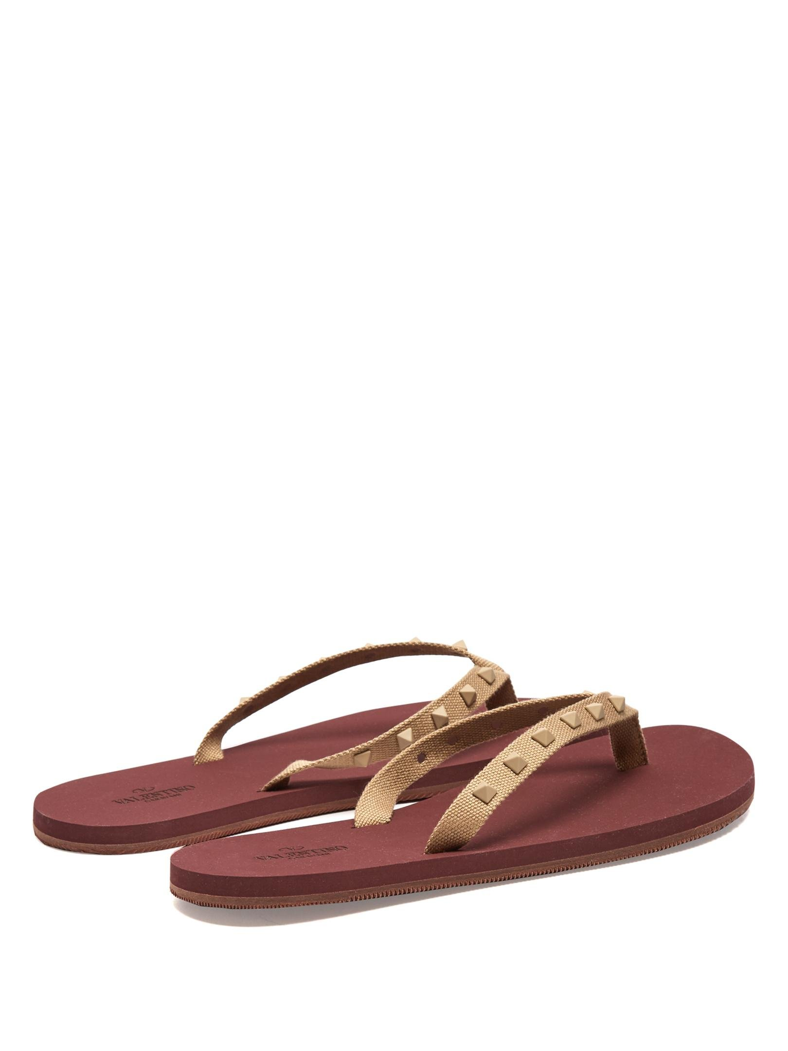 valentino rockstud rubber flip flops for men lyst. Black Bedroom Furniture Sets. Home Design Ideas