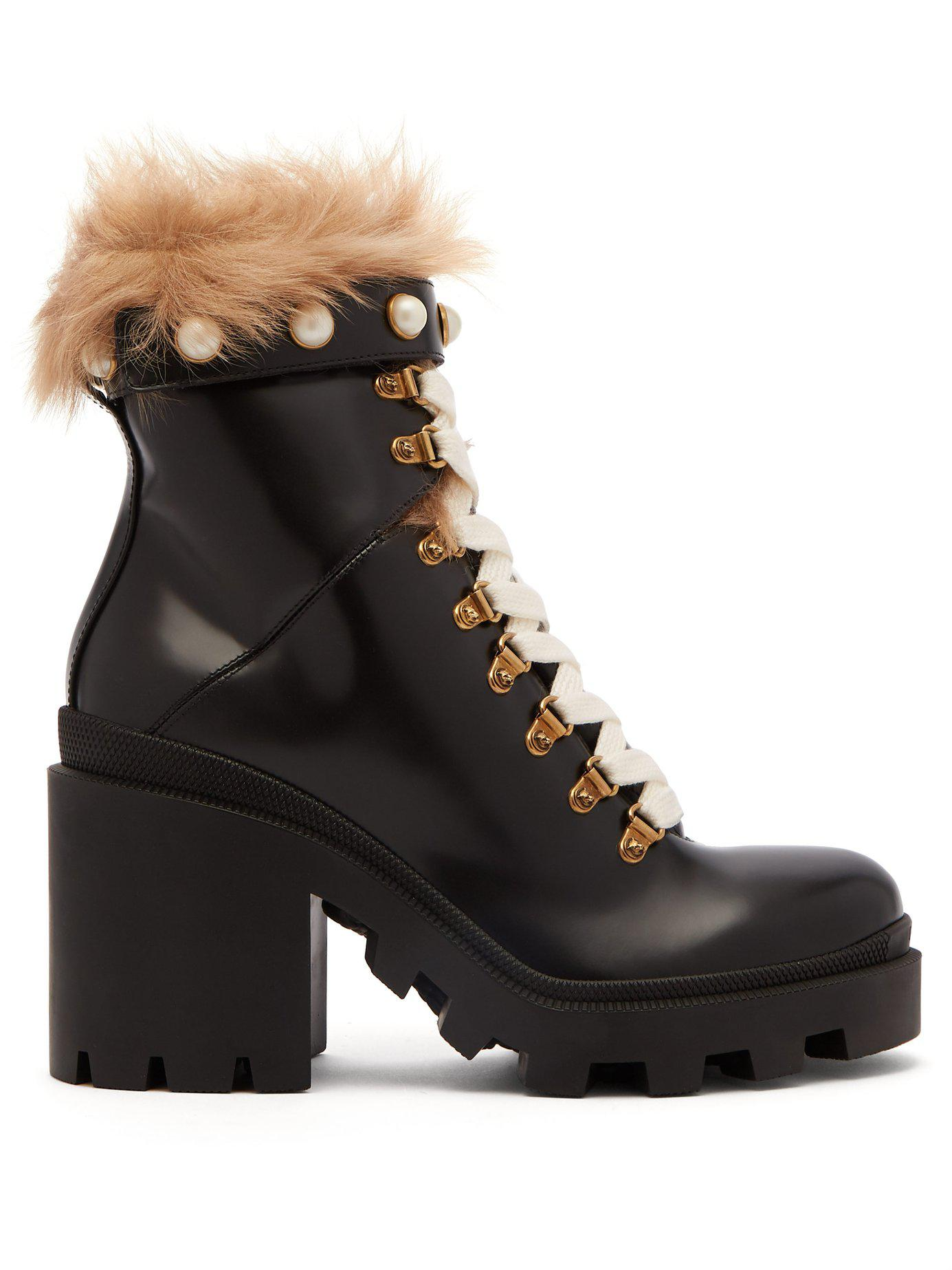 2c2bb6ad45be Lyst - Gucci Shearling Trimmed Leather Ankle Boots in Black