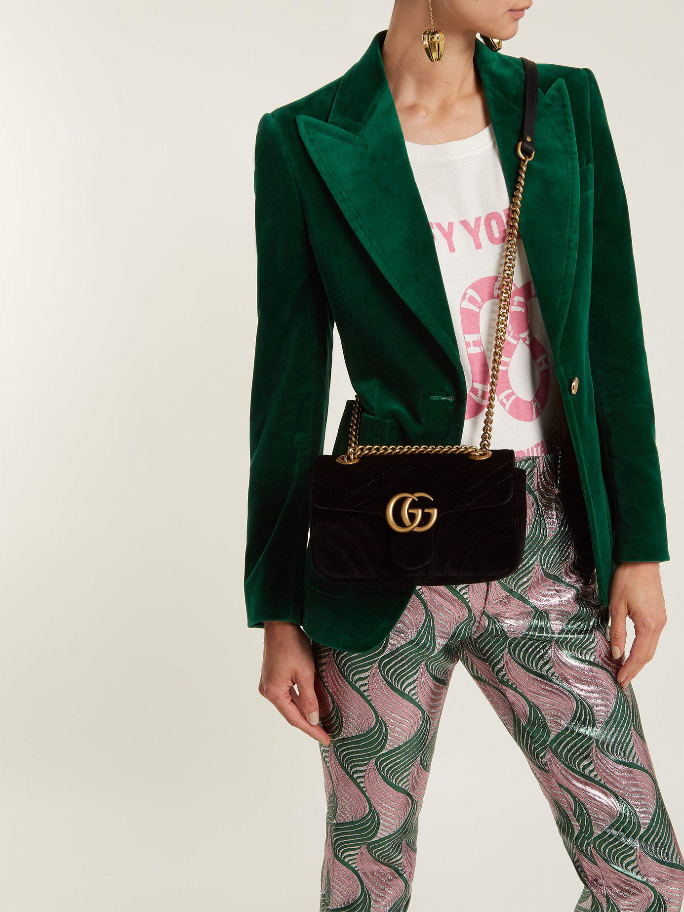 a41790b50 Tap to visit site. Gucci - Black Gg Marmont Mini Velvet Quilted Shoulder Bag  ...