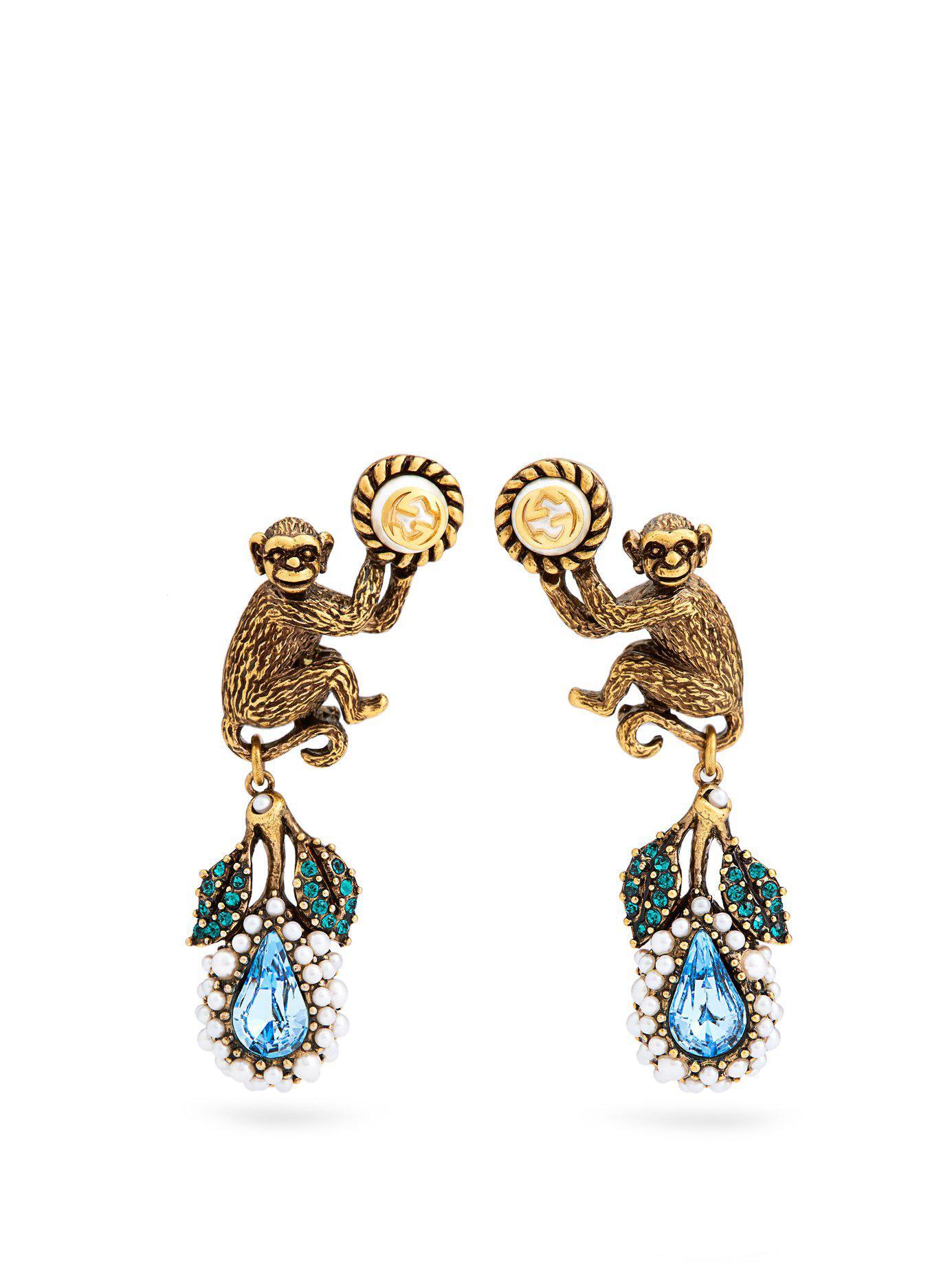 3628919eef9 Lyst - Gucci Monkey And Flower Earrings in Metallic