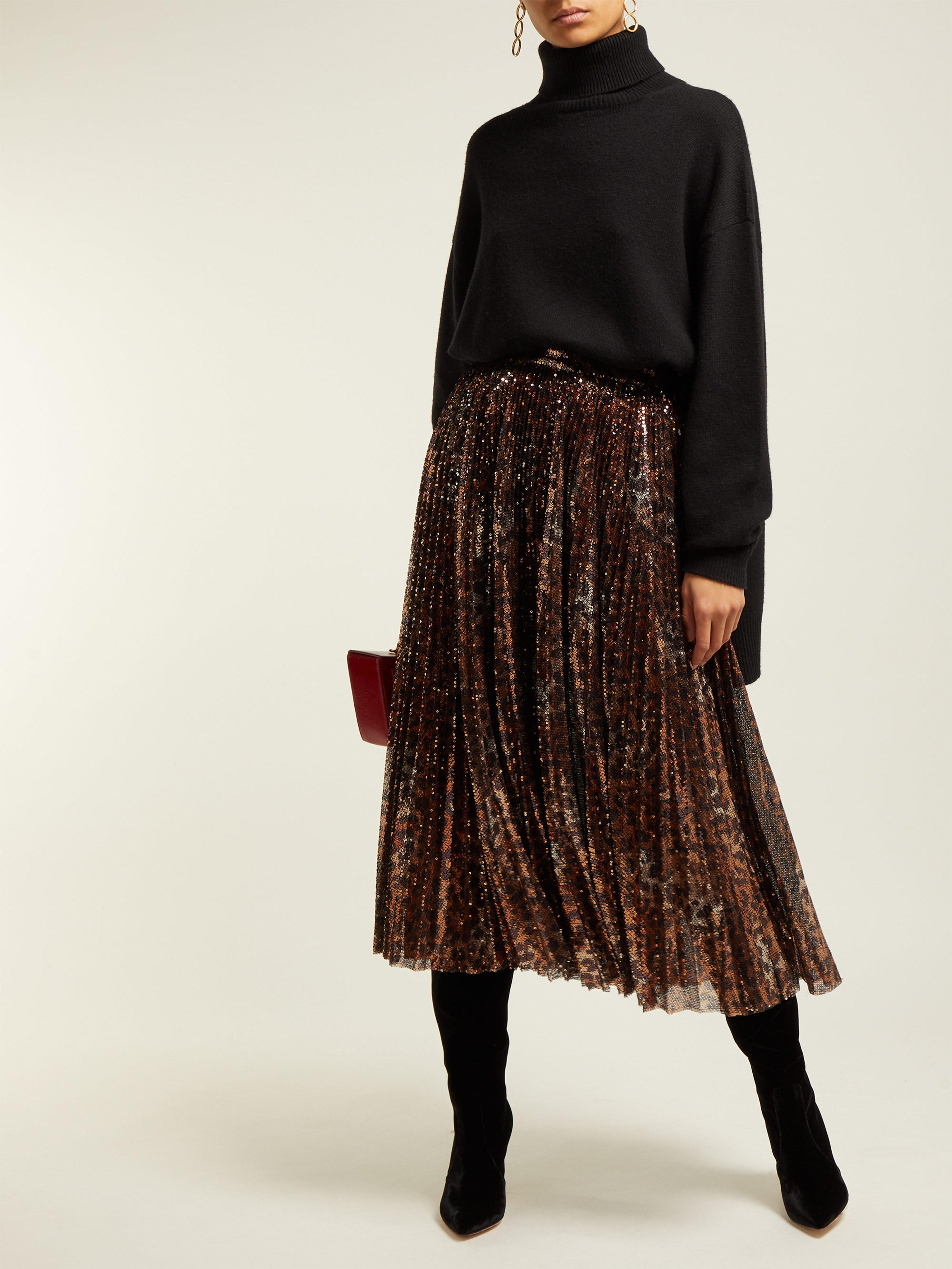 4d122082f2 Msgm Pleated Leopard Sequinned Skirt - Lyst