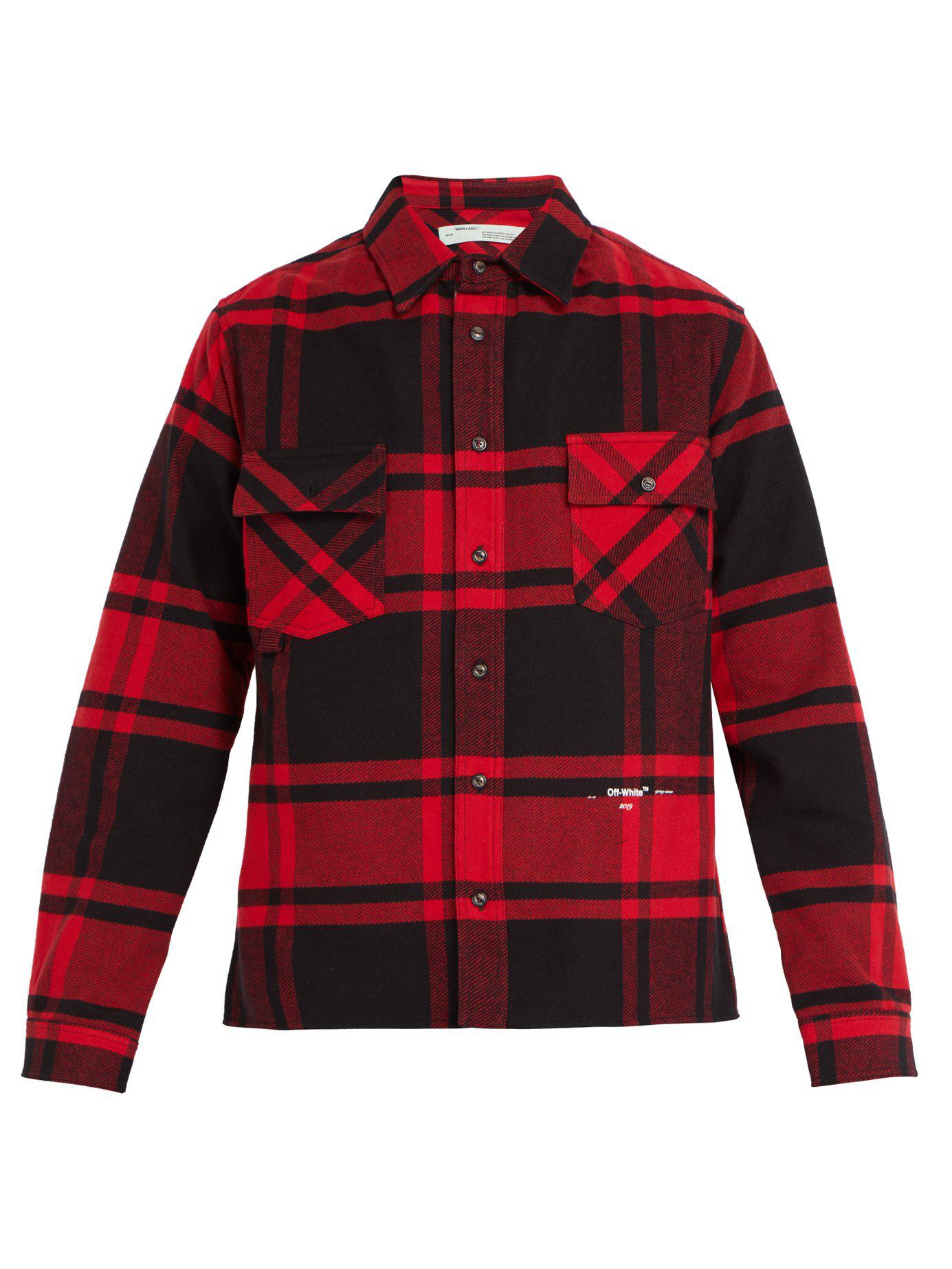 46c94485d7ae Lyst - Off-White c o Virgil Abloh Checked Cotton Blend Shirt in Red ...