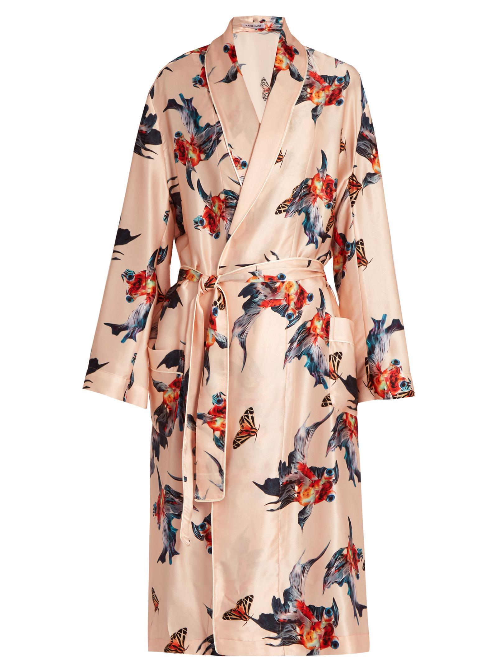 Lyst - Katie Eary Fish-print Silk-satin Dressing Gown