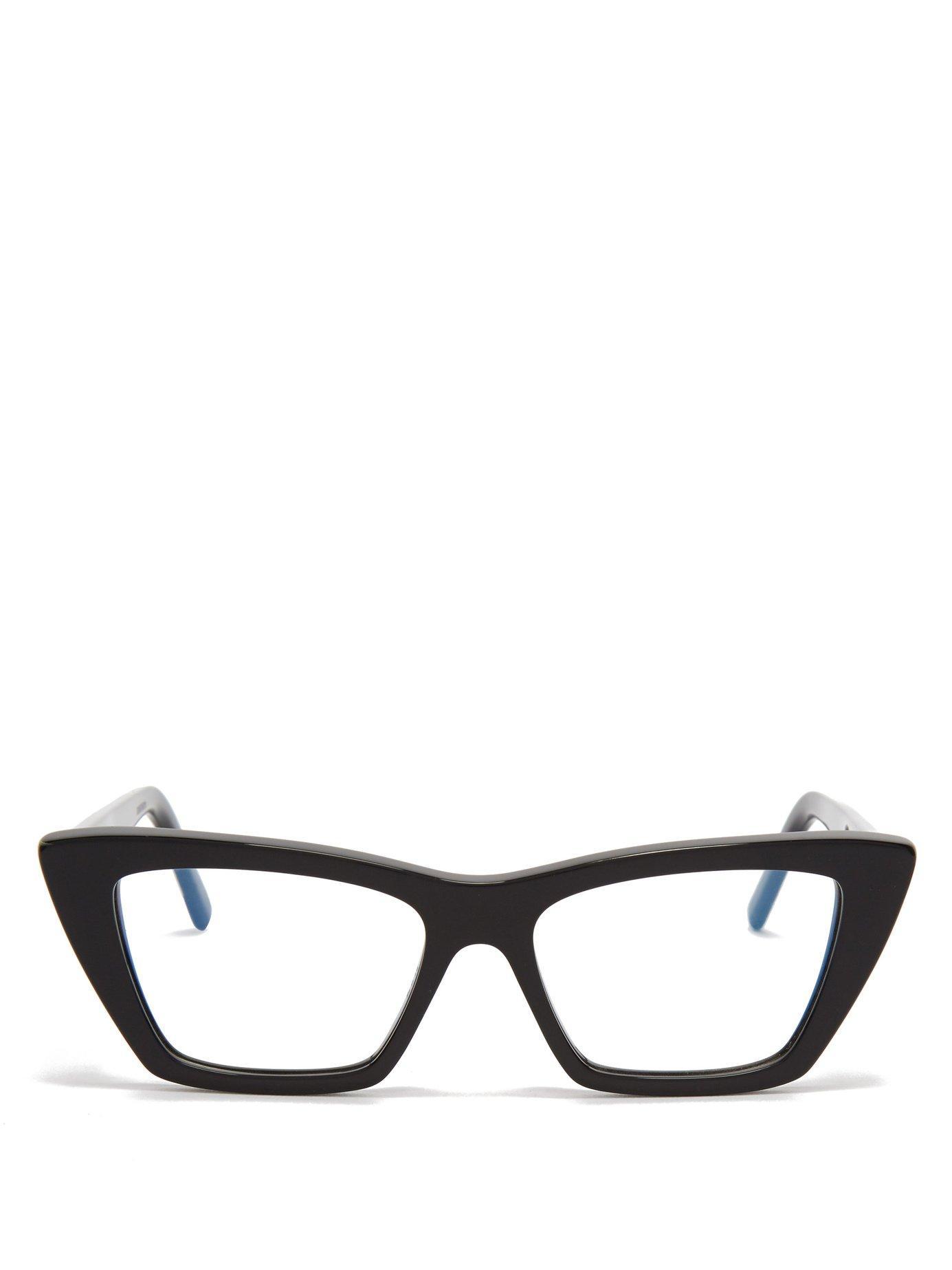 d8ff21ab264 Lyst - Saint Laurent Cat Eye Acetate Glasses in Black