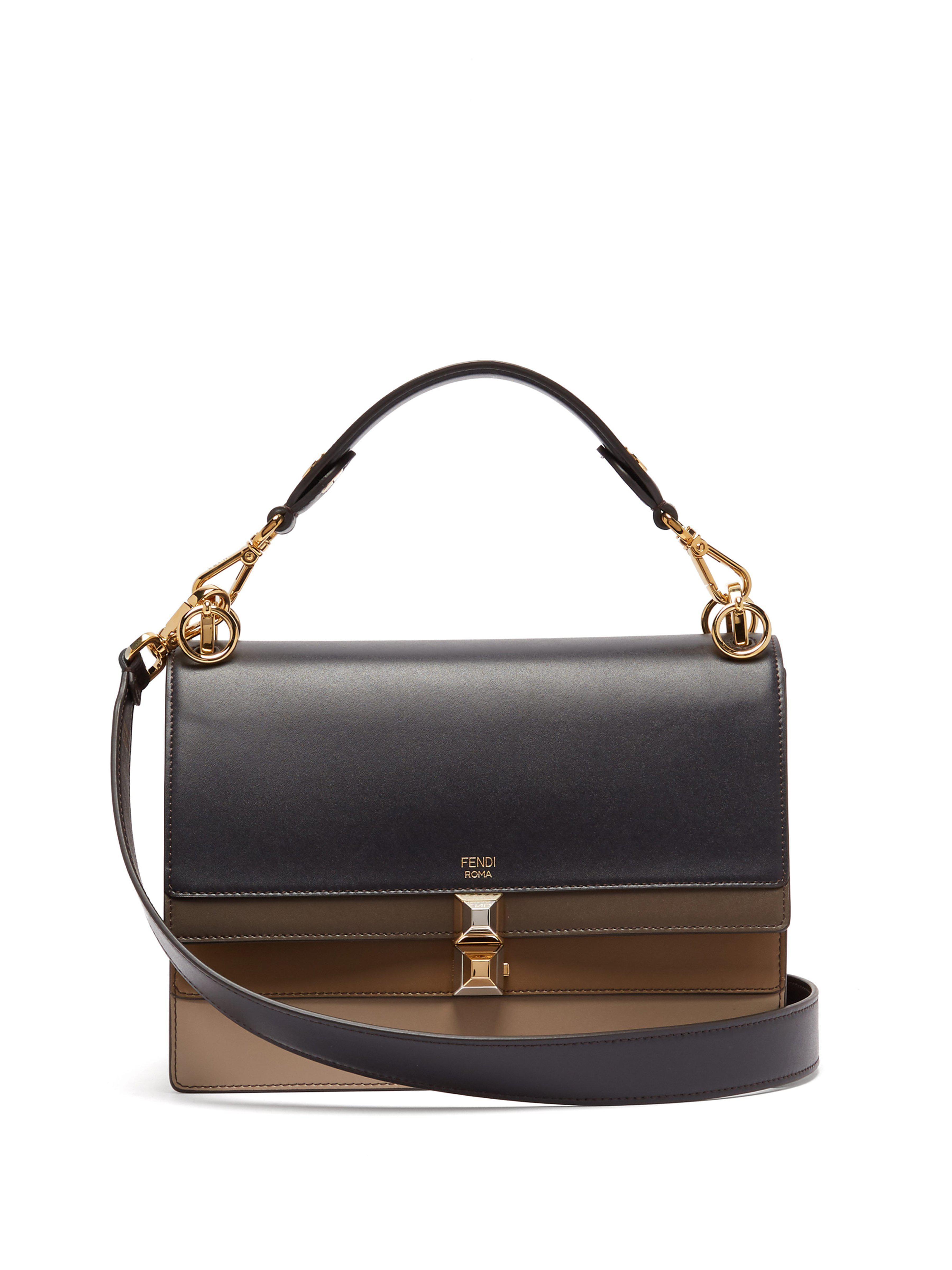 b529c6eb5f4c Fendi Kan I Leather Shoulder Bag in Blue - Lyst