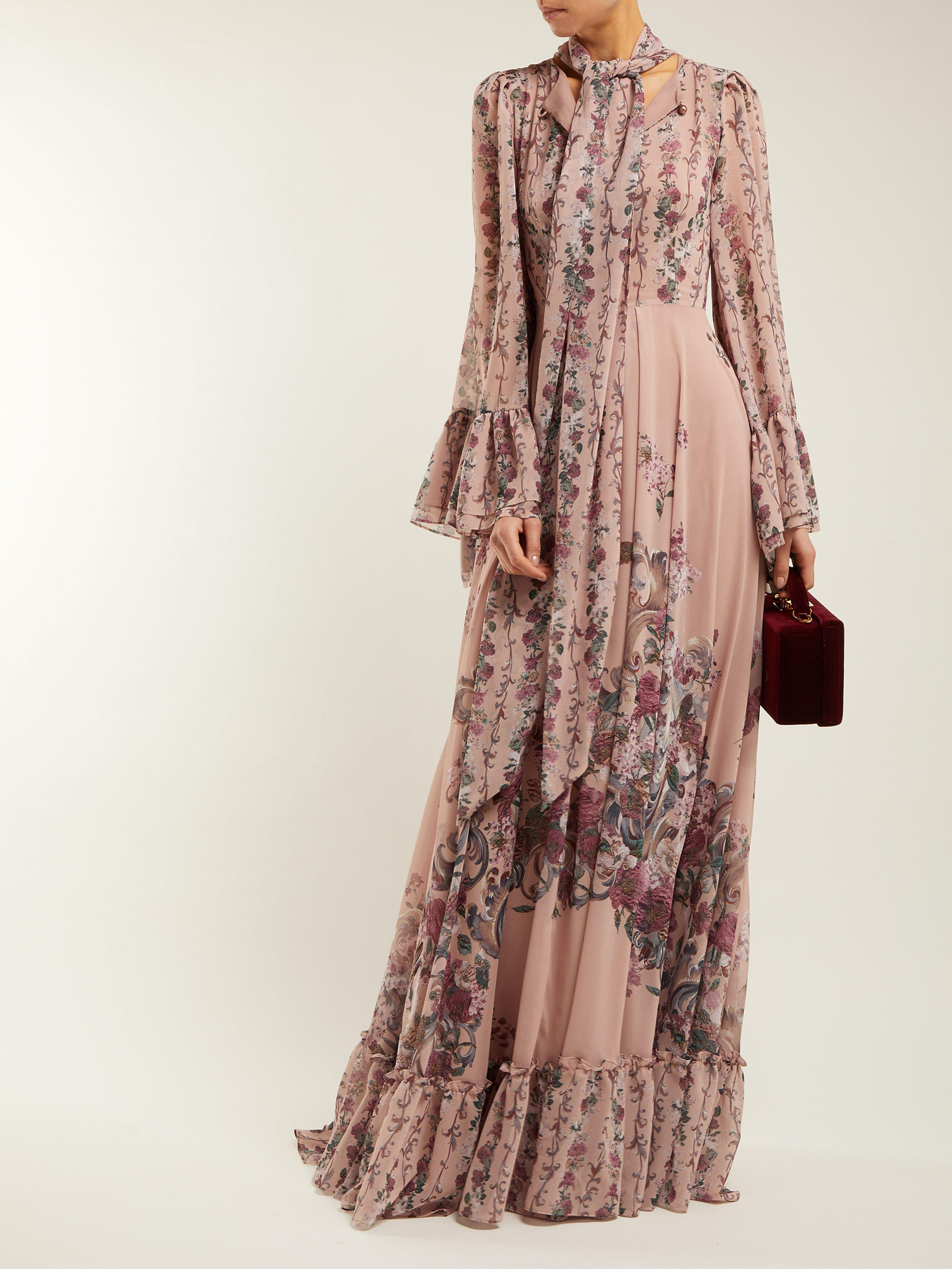 38d923b20558c Luisa Beccaria Pussy Bow Floral Print Georgette Gown in Pink - Lyst